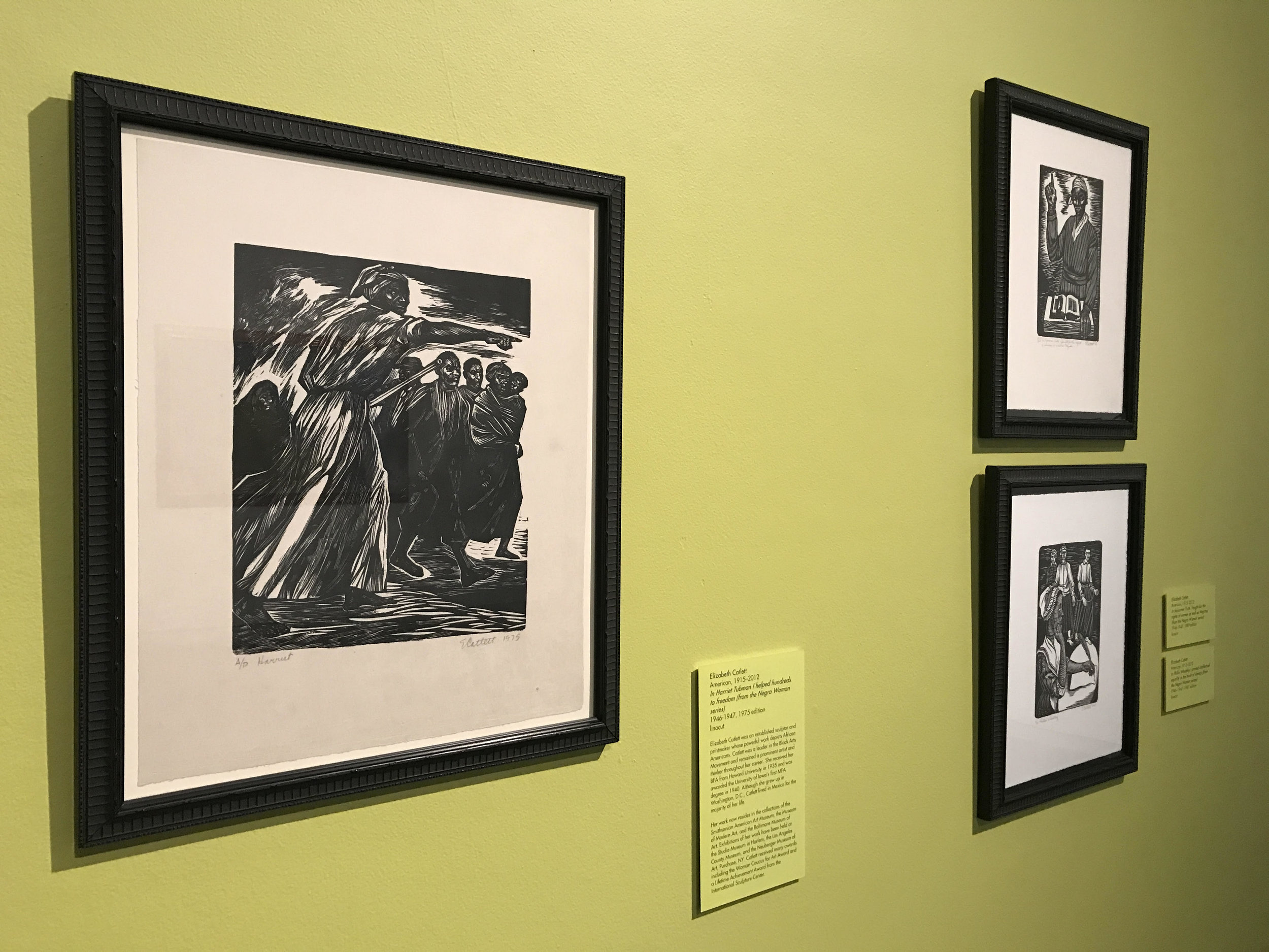 All linocuts by Elizabeth Catlett.Left: In Harriet Tubman I helped hundreds to freedom  (from the Negro Woman series),1946–1947, 1975 edition. Top right:  In Phillis Wheatley I proved intellectual equality in the midst of slavery  (from the Negro Woman series),1946–1947, 1981 edition.Bottom Right: In Sojouner Truth I fought for the rights of women as well as Negroes  (from the Negro Woman series),1946–1947, 1989 edition.