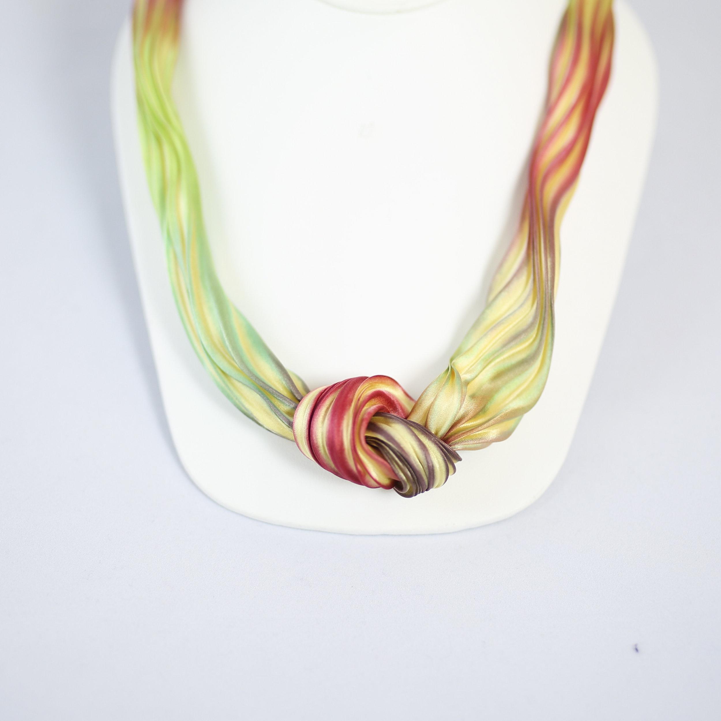 Folded silk necklace, $108.