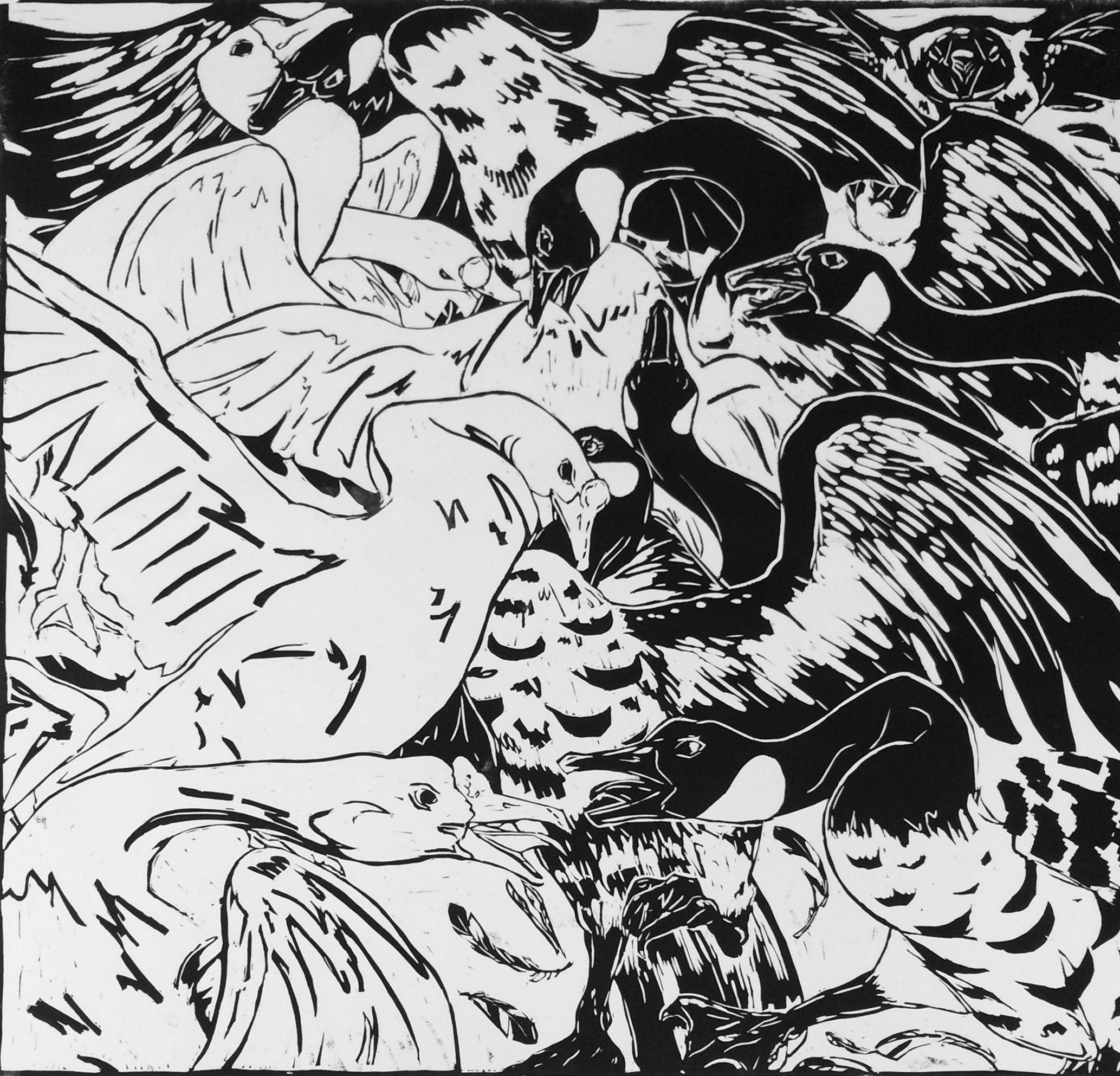 Kelsey Livingston, Turf War, 2016, relief print on paper, 36 x 36 inches