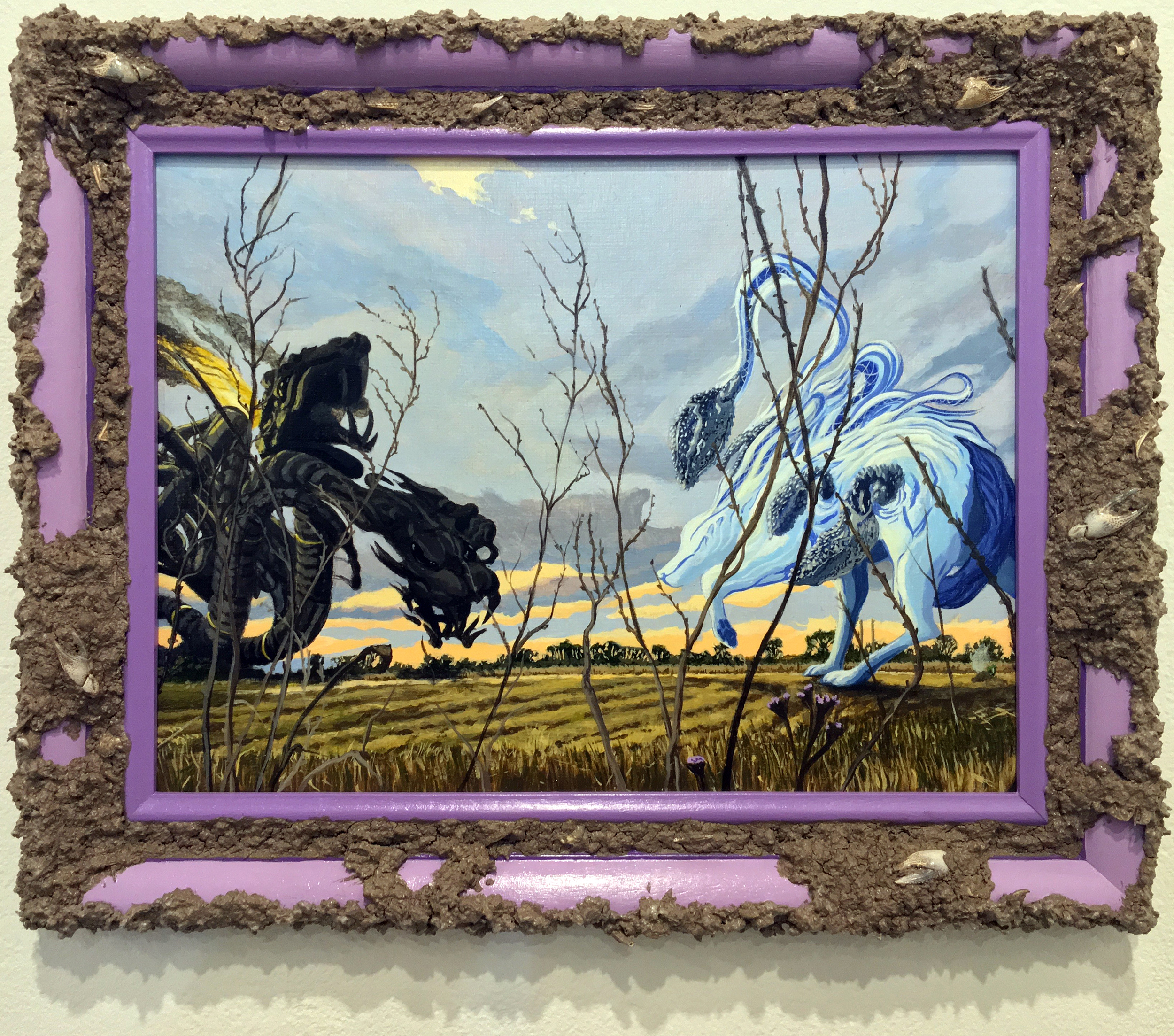 Jonathan Mayers,  La Louve blanche protégeant Rayne  (The White Wolf Protecting Rayne); acrylic, sediment and blue crawfish claws from the L'Eau est La Vie camp in Rayne, Louisiana on panel, repurposed frame; 12 x 14.5 inches; 2018; Courtesy of the artist and Arthur Roger Gallery
