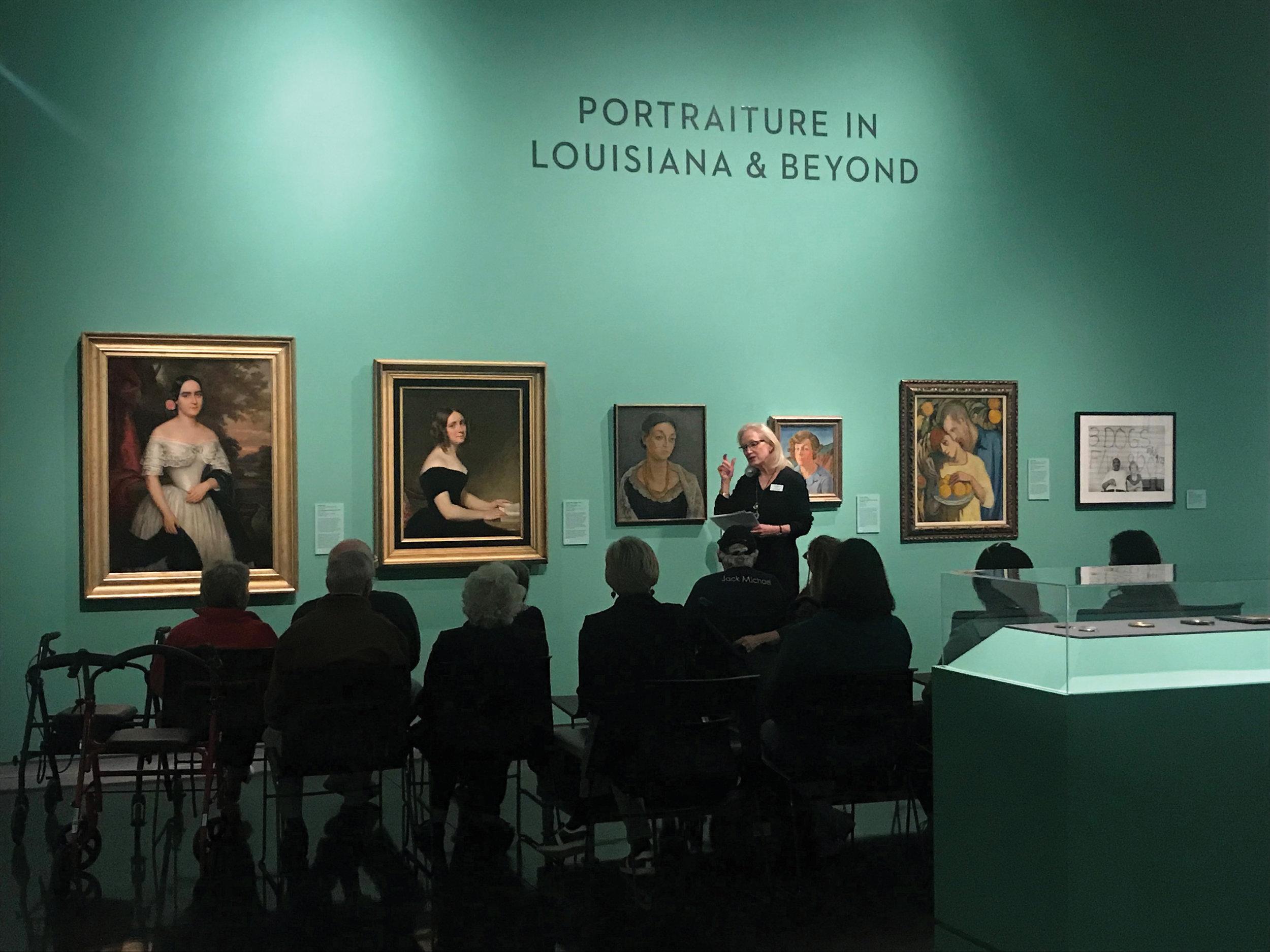Laura Larsen leading Art & Alzheimer's art tours at LSU Museum of Art