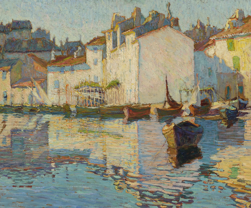 Arthur Watson Sparks (American, 1870-1919),  Quai St. Catherine, Martigue , c. 1910-1919, oil on board, Museum Purchase, Reading Public Museum, Reading, Pennsylvania.