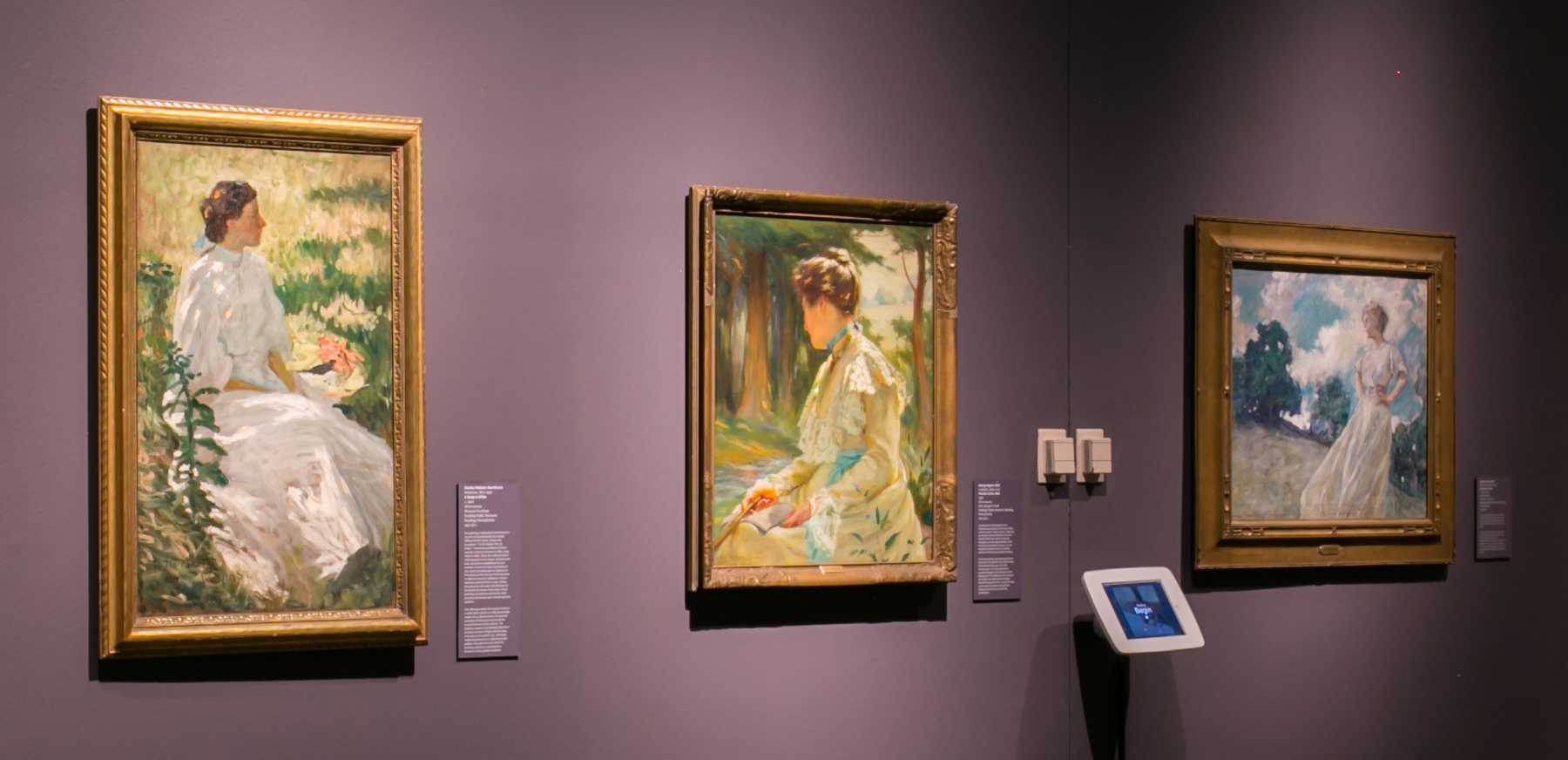 Images Left to Right:   Charles Webster Hawthorne, American 1872–1930,  A Study in White , c. 1900, oil on canvas, Museum Purchase, Reading Public Museum, Reading, Pennsylvania 1931.197.1; George Agnew Reid, Canadian, 1860–1947,  Portrait of Mrs. Reid , 1902, oil on canvas, Gift, George A. Reid, Reading Public Museum, Reading, Pennsylvania, 1922.915.1; Robert Lewis Reid, American, 1862–1929,  Summer Breezes,  c. 1910–1920, oil on canvas, Museum Purchase, Reading Public Museum, Reading, Pennsylvania 1931.641.1