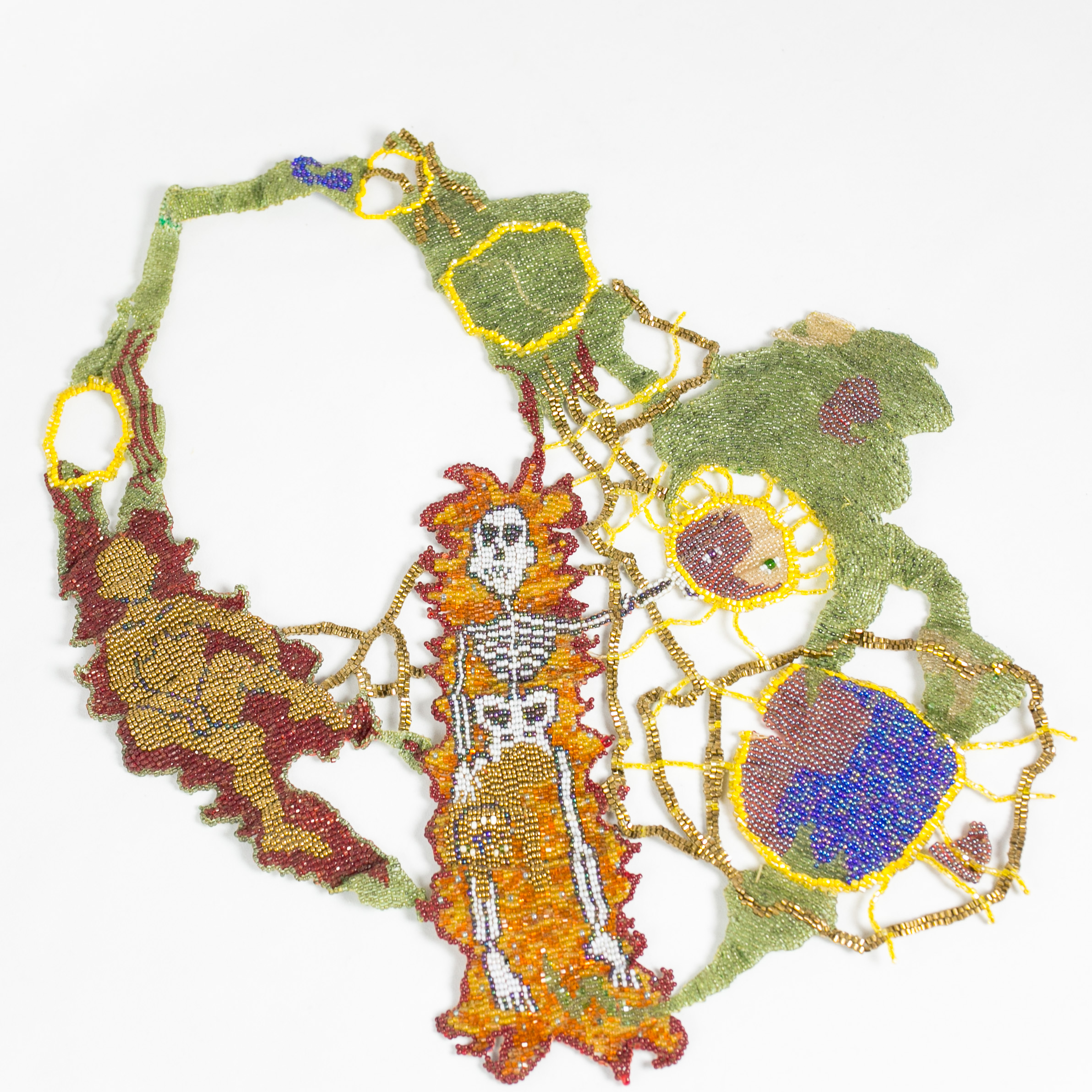 Joyce Scott,  Flaming Skeleton #2 , 1993, glass beads and thread. Courtesy of Elsie Michie.