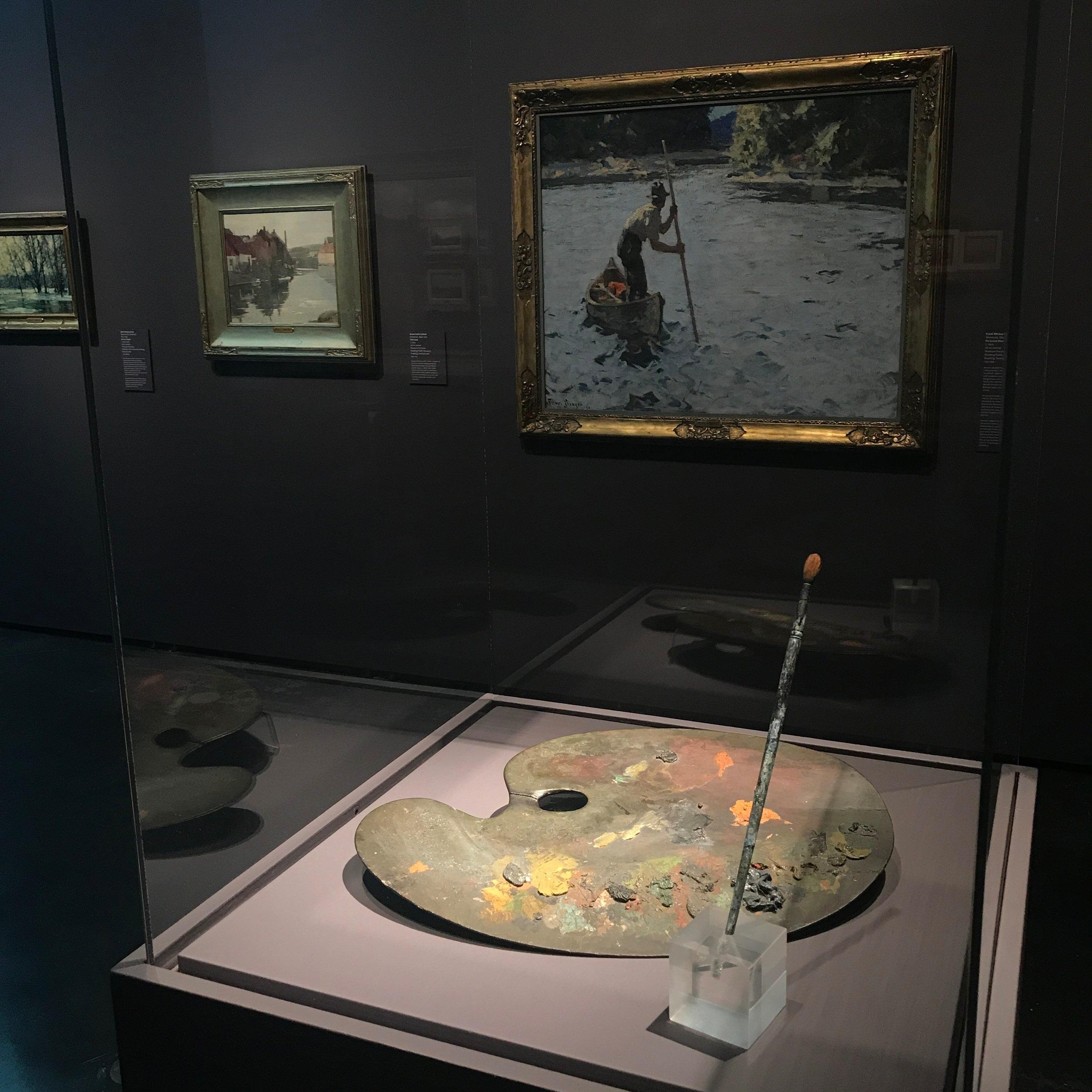 William Merritt Chase (American, 1849 – 1916),  William Merritt Chase's original palette and brush,  wood and oil paint, Gift, William Ferguson Reading Public Museum, Reading, Pennsylvania