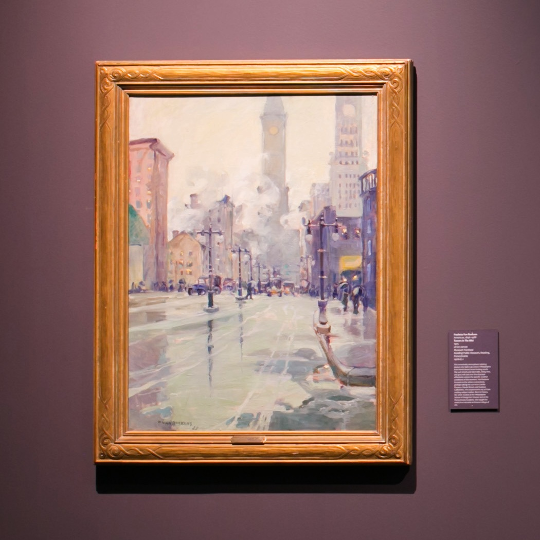 Paulette Van Roekens (American, 1896 – 1988),  Towers In The Mist , 1925, oil on canvas, Museum Purchase Reading Public Museum, Reading, Pennsylvania