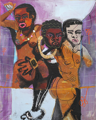 Jonathan Lyndon Chase,  3 Graces of Olney,  2018, acrylic, spray paint, glitter, marker on canvas, Courtesy of Carole Server and Oliver Frankel