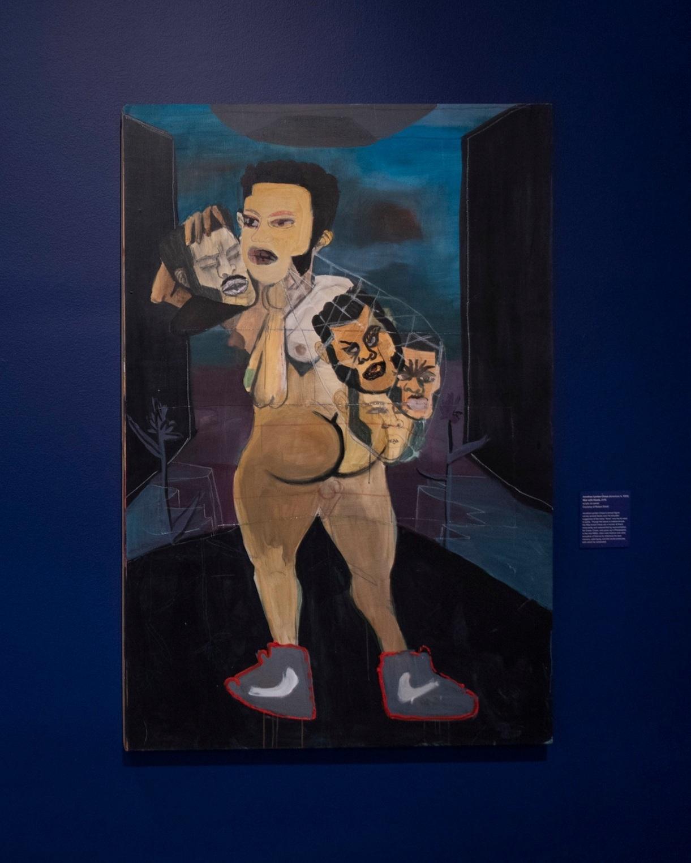 Jonathan Lyndon Chase (American, b. 1989),  Man with Heads , 2015, acrylic on panel, Courtesy of Robert Shiell