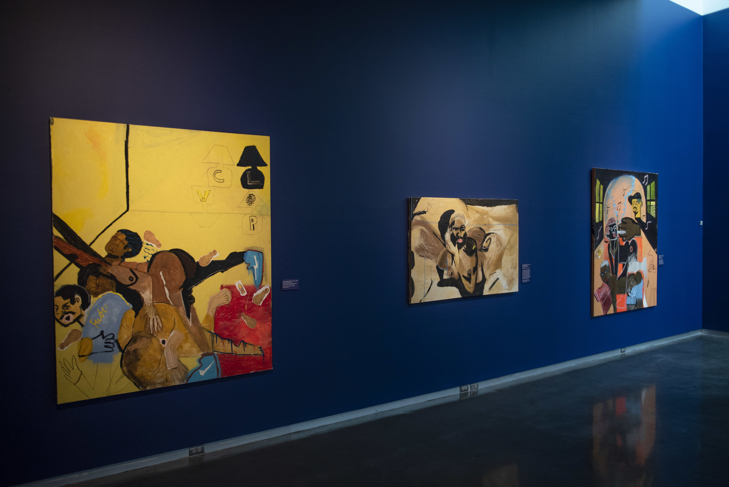 Chase's paintings (from left to right)  clap,clap,clap,clap ;  peaches and cream ,  3SUM displayed in Semblance at LSU Museum of Art