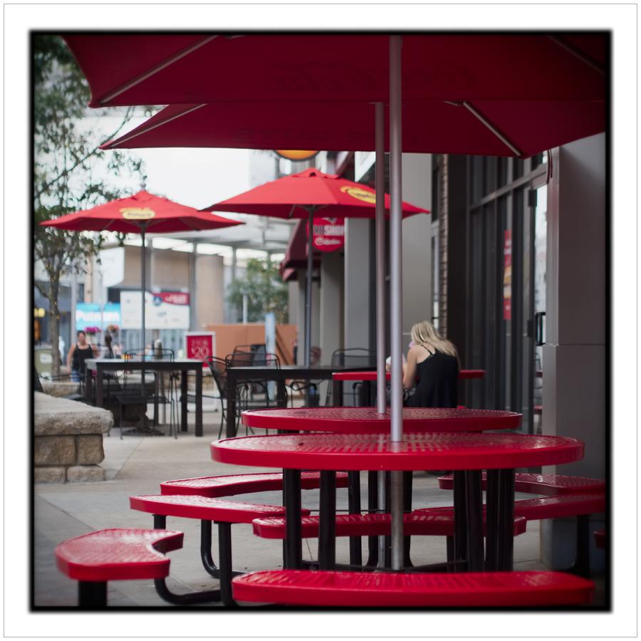 red umbrellas / tables   ~ Foxboro, MA.