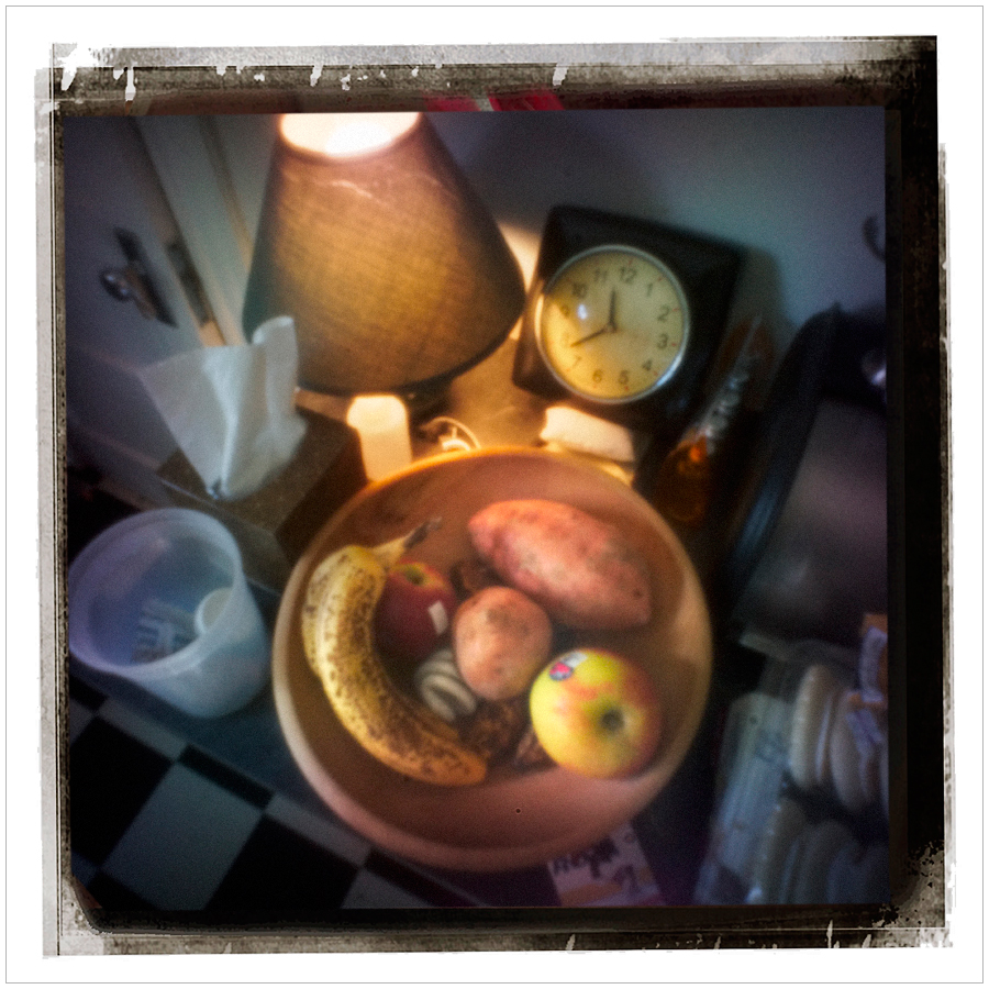 fruit, root veggies and might bulb in wooden bowl   ~ Au Sable Forks, NY - in the Adirondack PARK