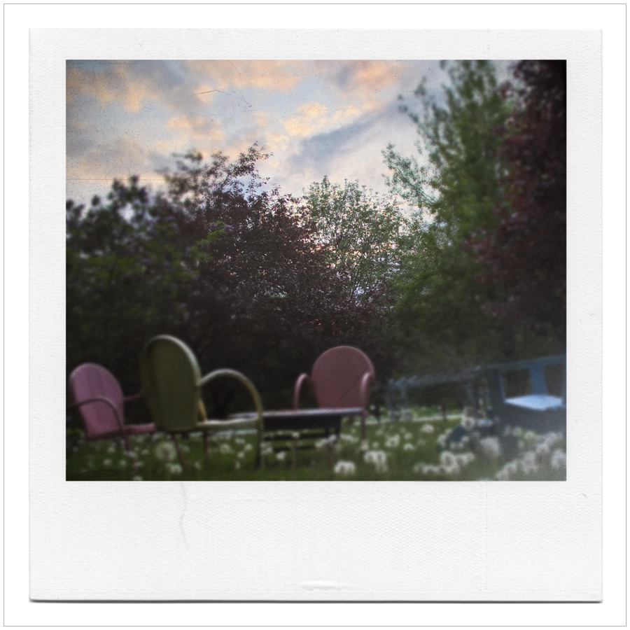 lawn chairs with sunse  t
