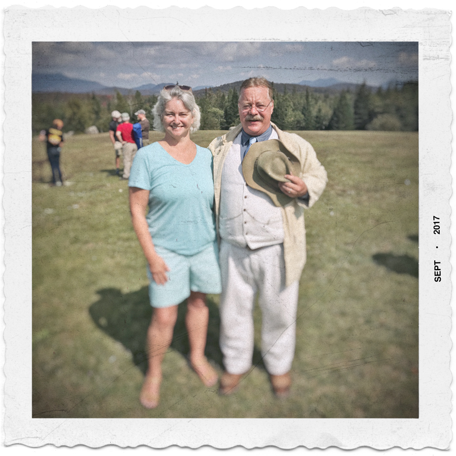 the wife and Teddy     Roosevelt   ~ Newcomb. NY - in the Adirondack PARK (embiggenable)