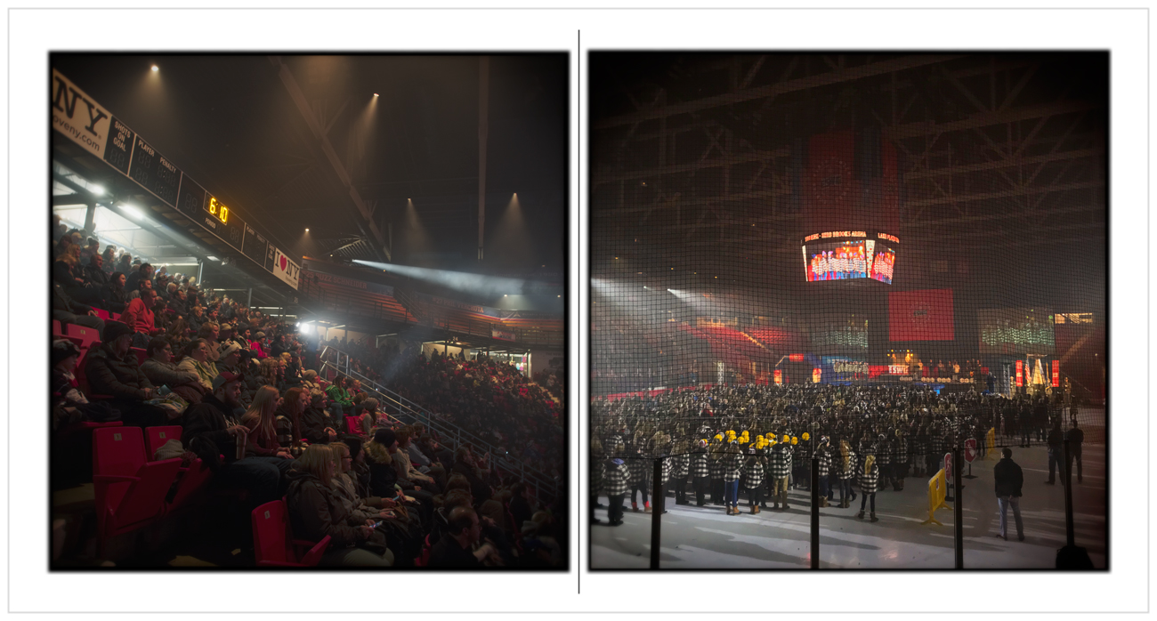 opening ceremony   /   Empire State Winter Games   ~ Lake Placid - in the Adirondack PARK (embiggenable) * l-r - µ4/3, iPhone