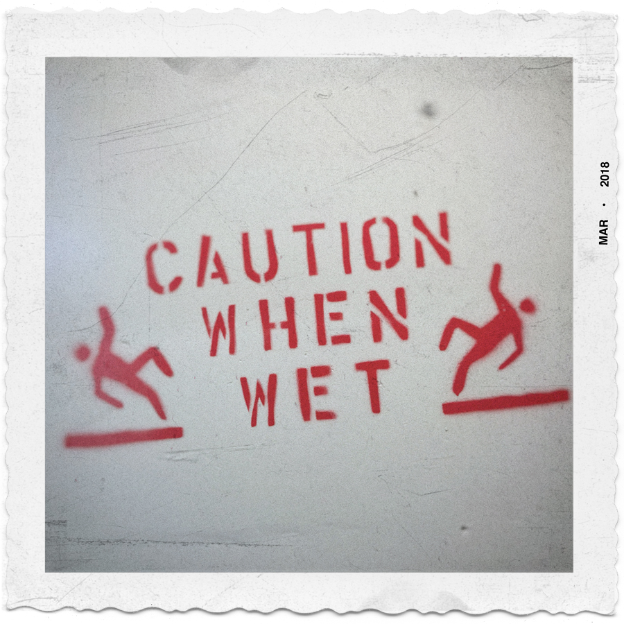 caution when wet   ~ parking garage / Binghamtom, NY (embiggenable) • iPhone