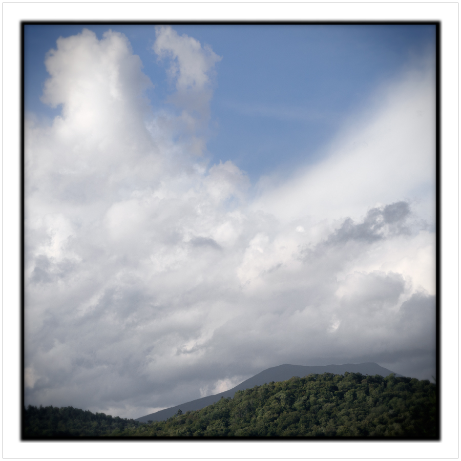 Santanoni Mountain   /   clouds   ~ Rist Camp Porch - Adirondack PARK, NY (embiggenable) • µ4/3