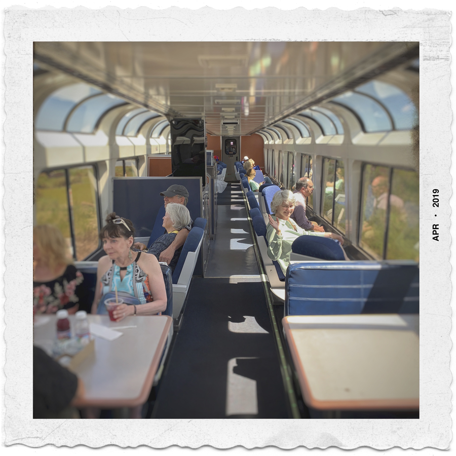 riding the City of New Orleans train   /   observation car to Chicago