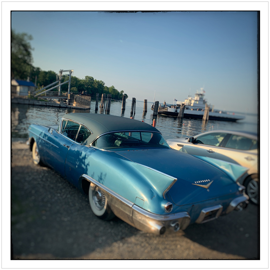 1957 Cadillac Eldorado Seville   ~ at the Essex Ferry / Lake Champlain (embiggenable) • iPhone