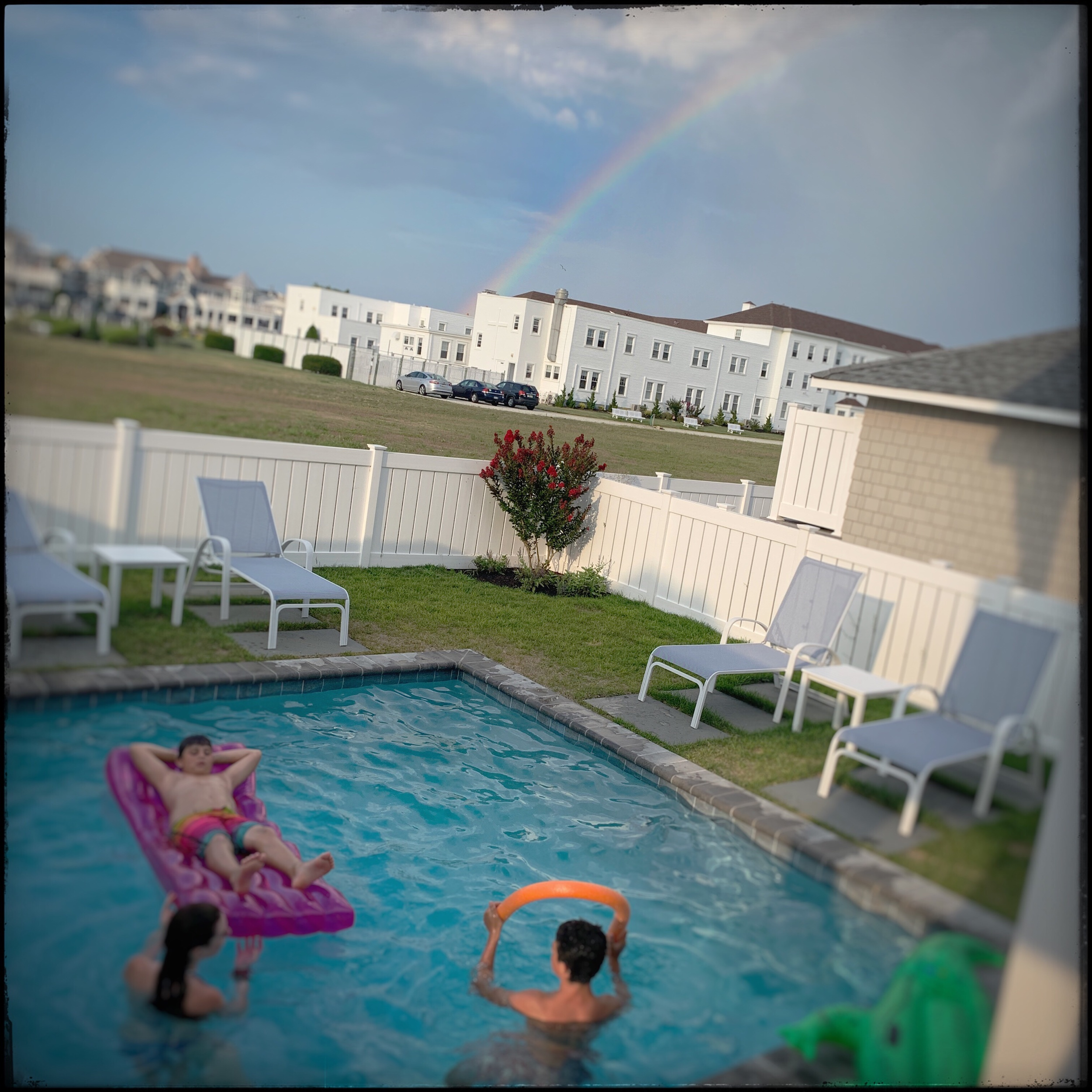 pool, convent, rainbow   ~  Stone Harbor, NJ (embiggenable) • iPhone