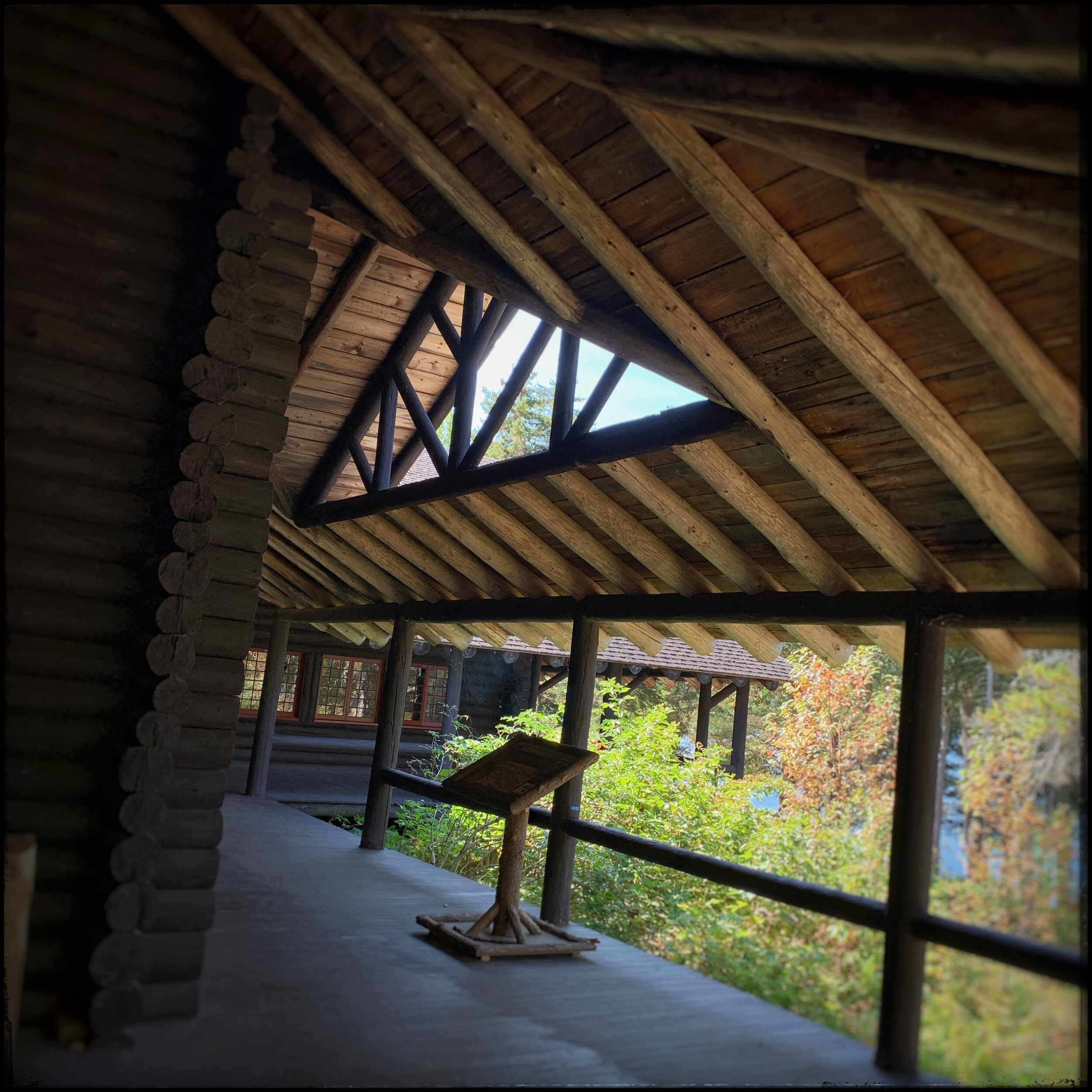 On part of the deck / under the roof   ~ Camp Santanoni (embiggenable ) • iPhone
