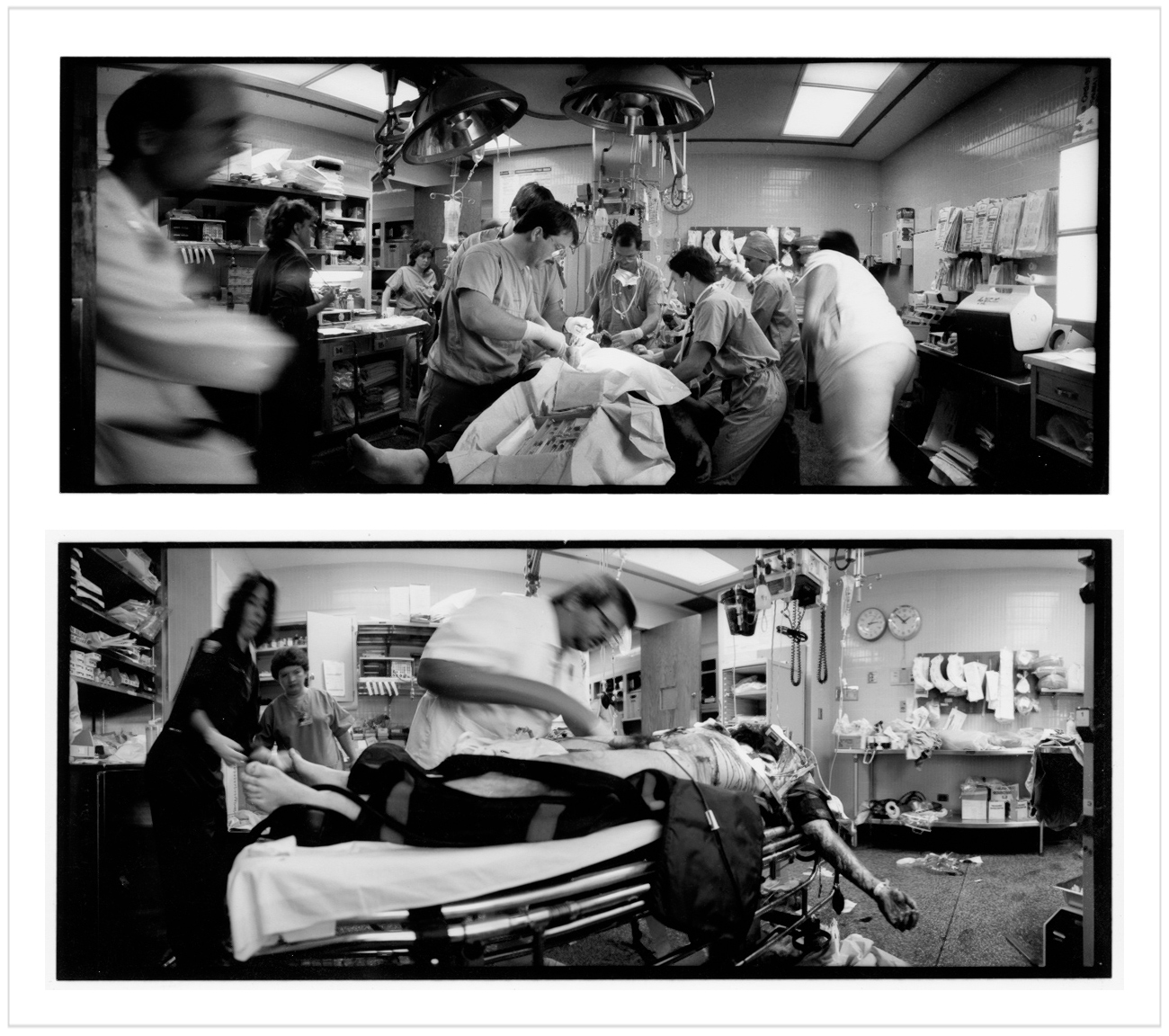Death In the ER   ~  A Day in the Life of an Urban Hospital  book (embiggenable) • Widelux 1500 (medium format)