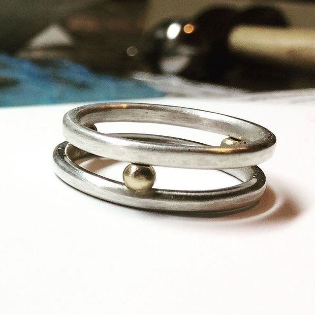 Sterling silver and 14 k gold stacking rings #casslilienjewelry #jewelrygram #jewelryoftheday #hipstergallerynyc