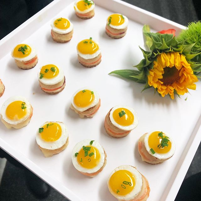 It's a ☔️☔️☔️ day but just look at how ☀️ these mini Croque Madames look! . . . #catering #cateredevents #eventcaterers #eventplanning #cocktailhour #horsdoeuvres #caterer #foodlife #instafood #photooftheday #foodstagram #gourmet #cateringservice #eventfood #cateringlife #eventcaterer #betterforyou