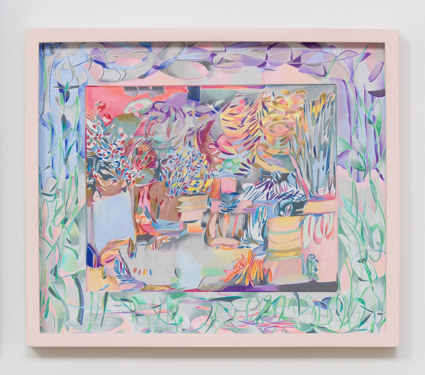 Sarah Ann Weber    Tuileries Garden   2016 Prismacolor colored pencils on paper and mat board, artist's frame 12 x 14 inches
