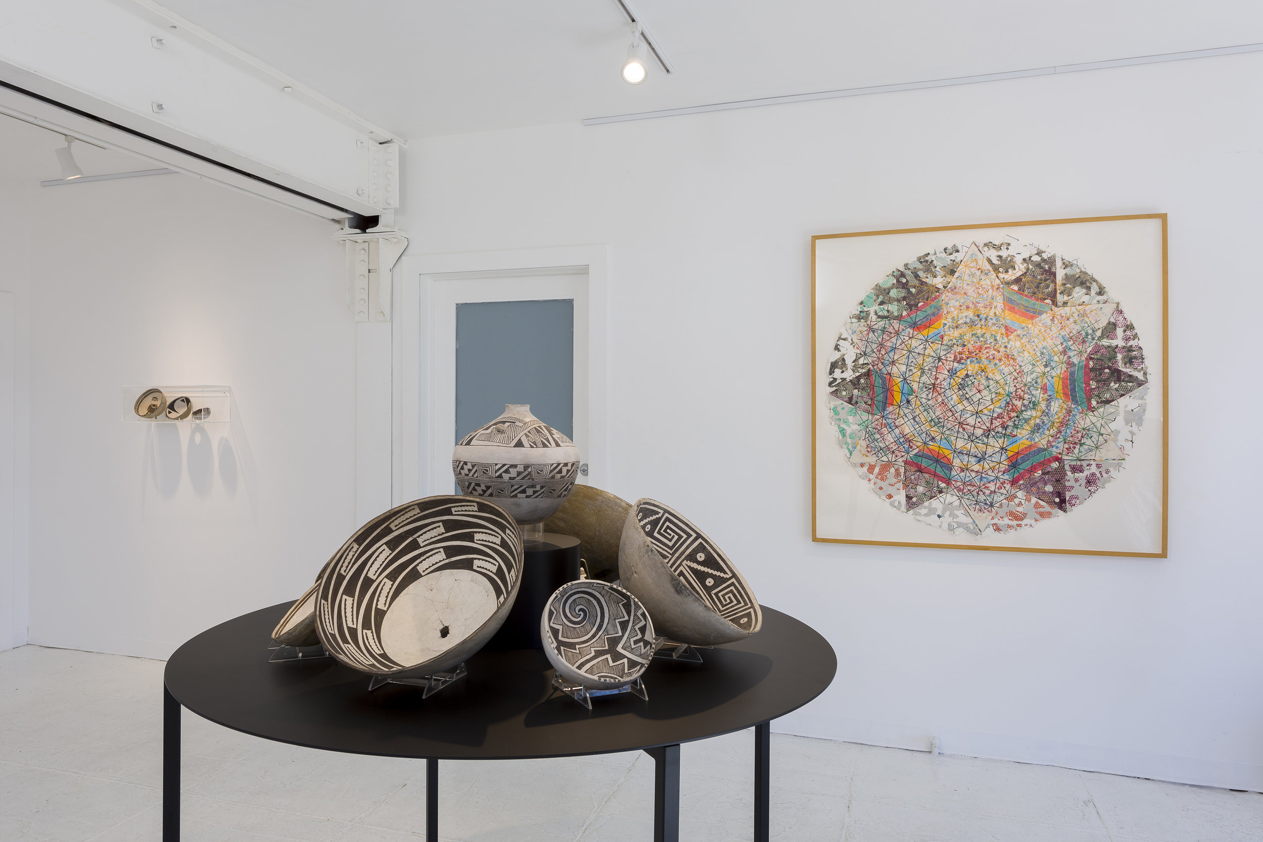 Installation view of  Rupture of Plane: Alan Shields + Mimbres Painted Pottery   September 9 - October 7, 2018  Photo by Ruben Diaz   Link to Exhibition Text
