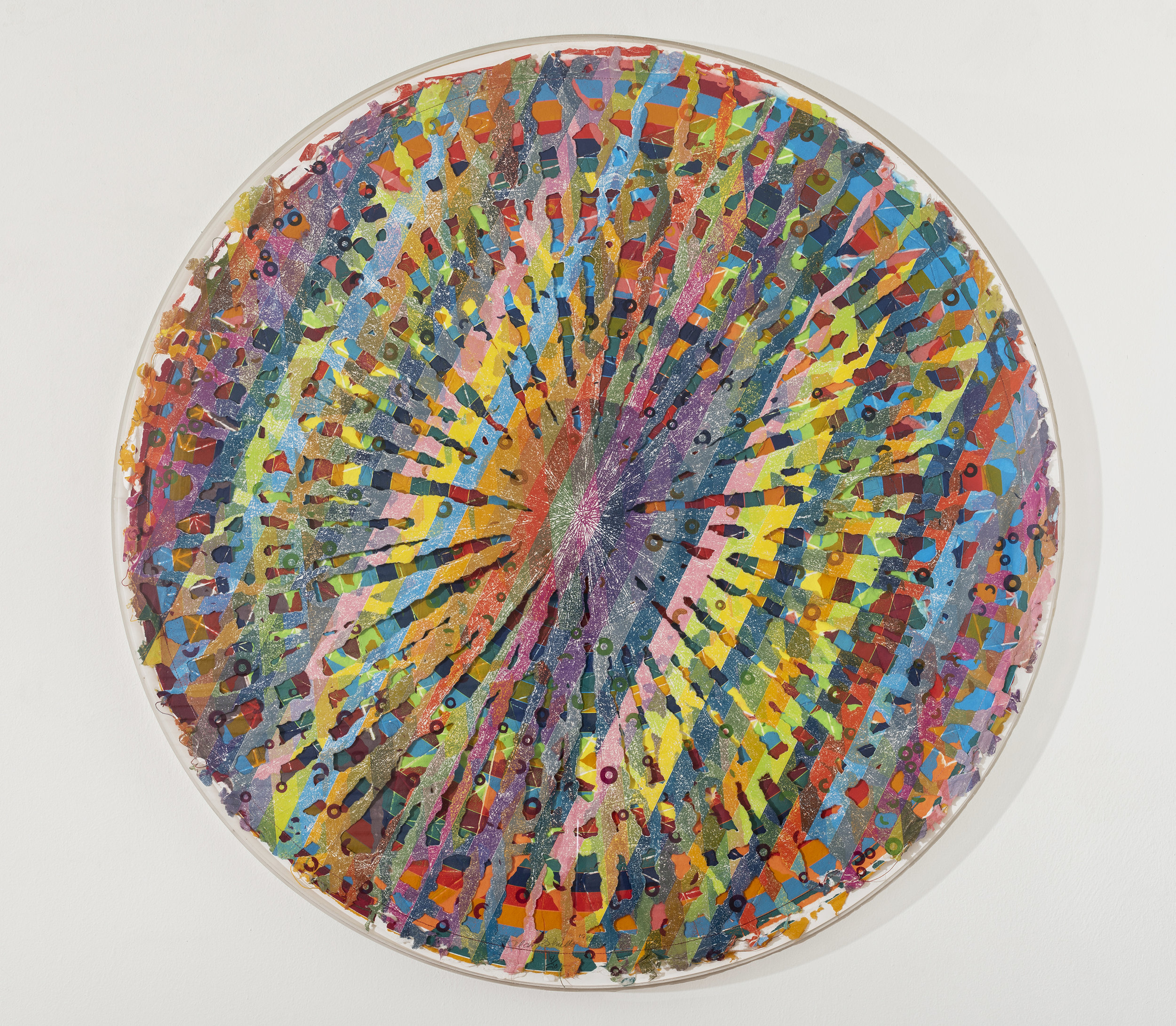 Alan Shields  Rain Dance Route  from  The Raggedy Circumnavigation Series     1985 Relief, woodcut, silkscreen, string, stitching, on handmade paper, two layers 47 inches diameter  Ed. 4/20
