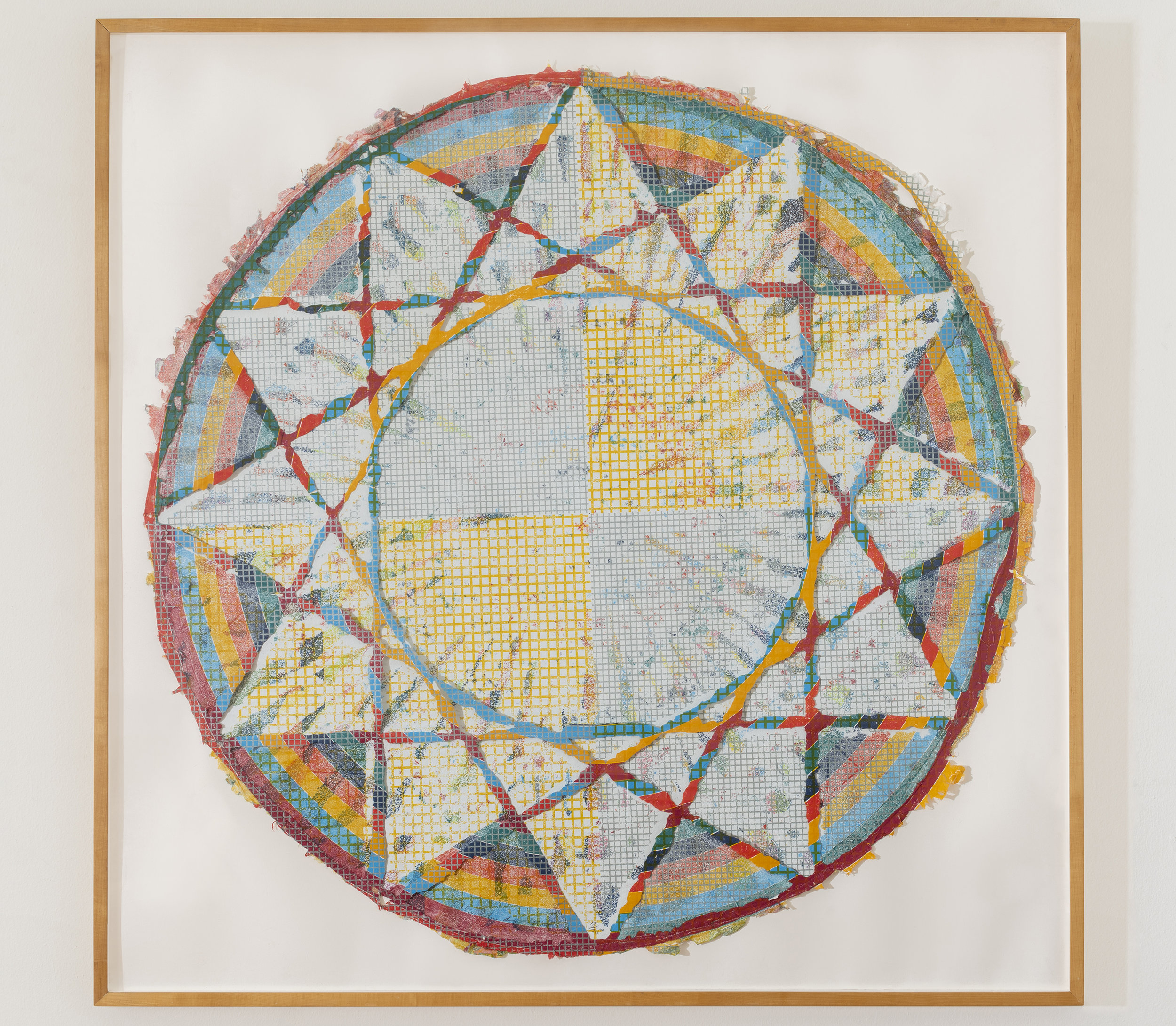 Alan Shields  Equatorial Route , from  The Raggedy Circumnavigation Series     1985 Relief, woodcut, silkscreen, string, stitching, on handmade paper, two layers 47 inches diameter, 52 x 52 inches framed Ed. 18/20