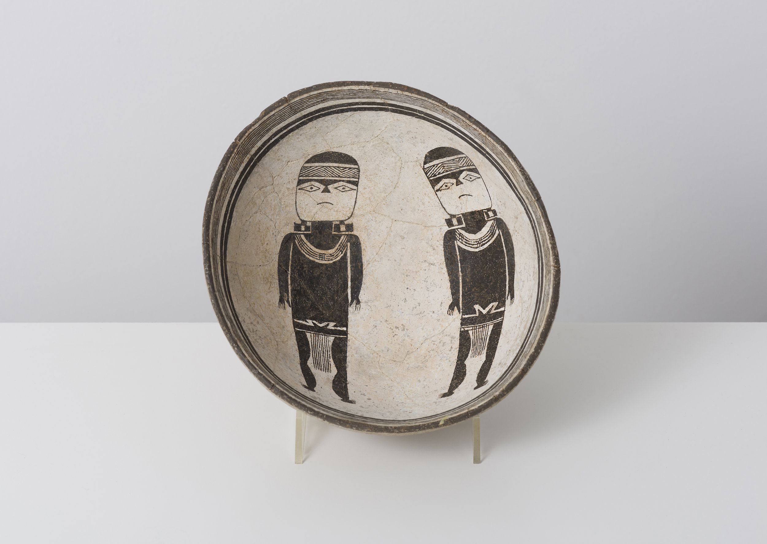 Classic Mimbres Black-on-white  Warrior twins c. 900 - 1000 CE Painted ceramic 6 inches diameter, 3 inches depth