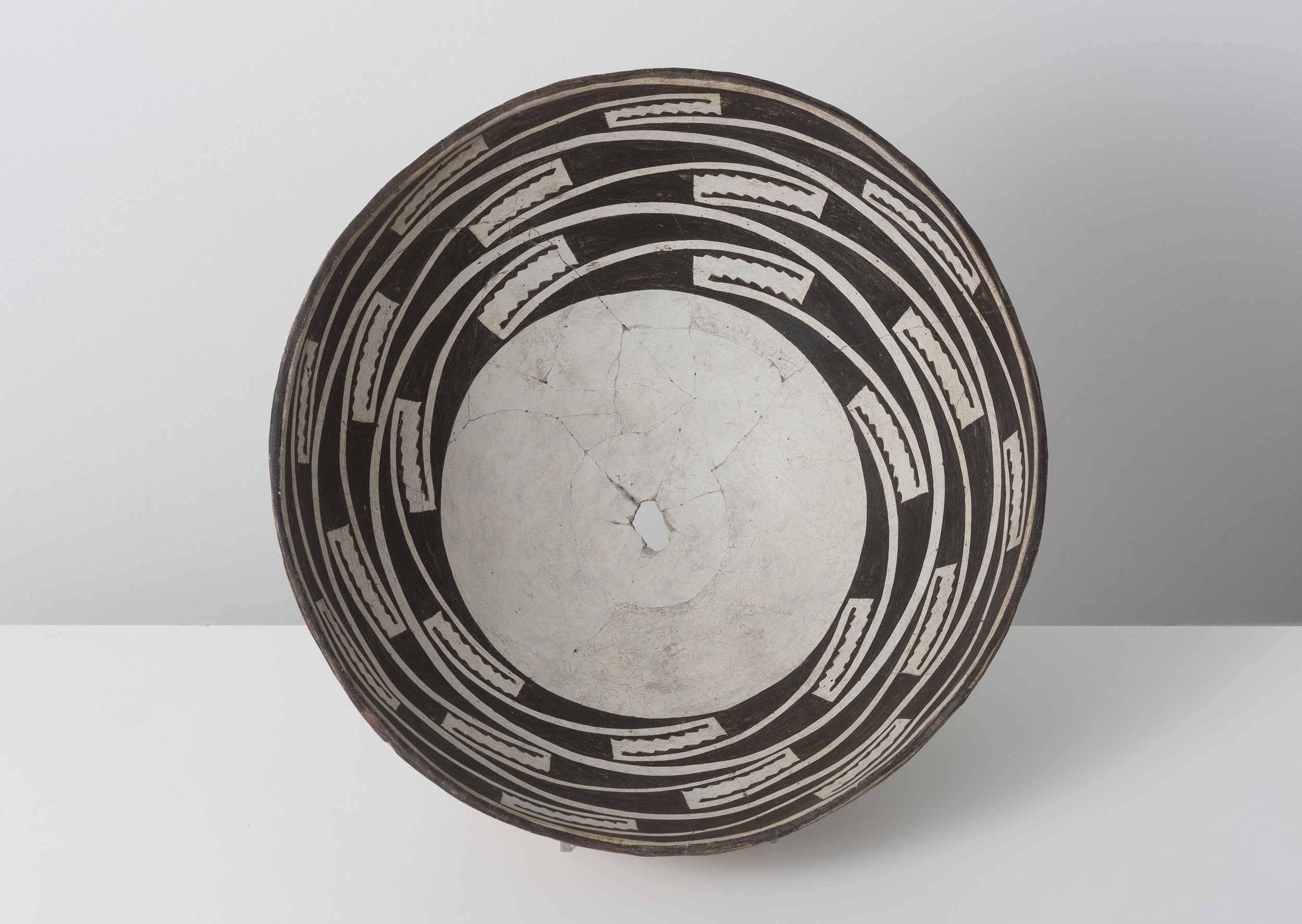 Classic Mimbres Black-on-white  Trance portal c. 900 - 1000 CE Painted ceramic 13 inches diameter, 4 inches depth