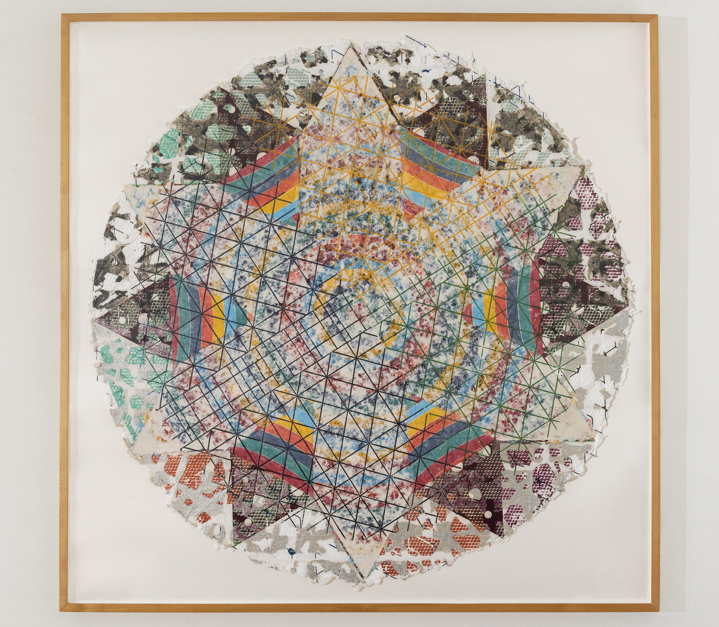 Alan Shields  Uncle Ferdinand's Route , from  The Raggedy Circumnavigation Series     1985 Relief, woodcut, silkscreen, string, stitching, glitter, on handmade paper, three layers 47 inches diameter, 52 x 52 inches framed Ed. 19/20
