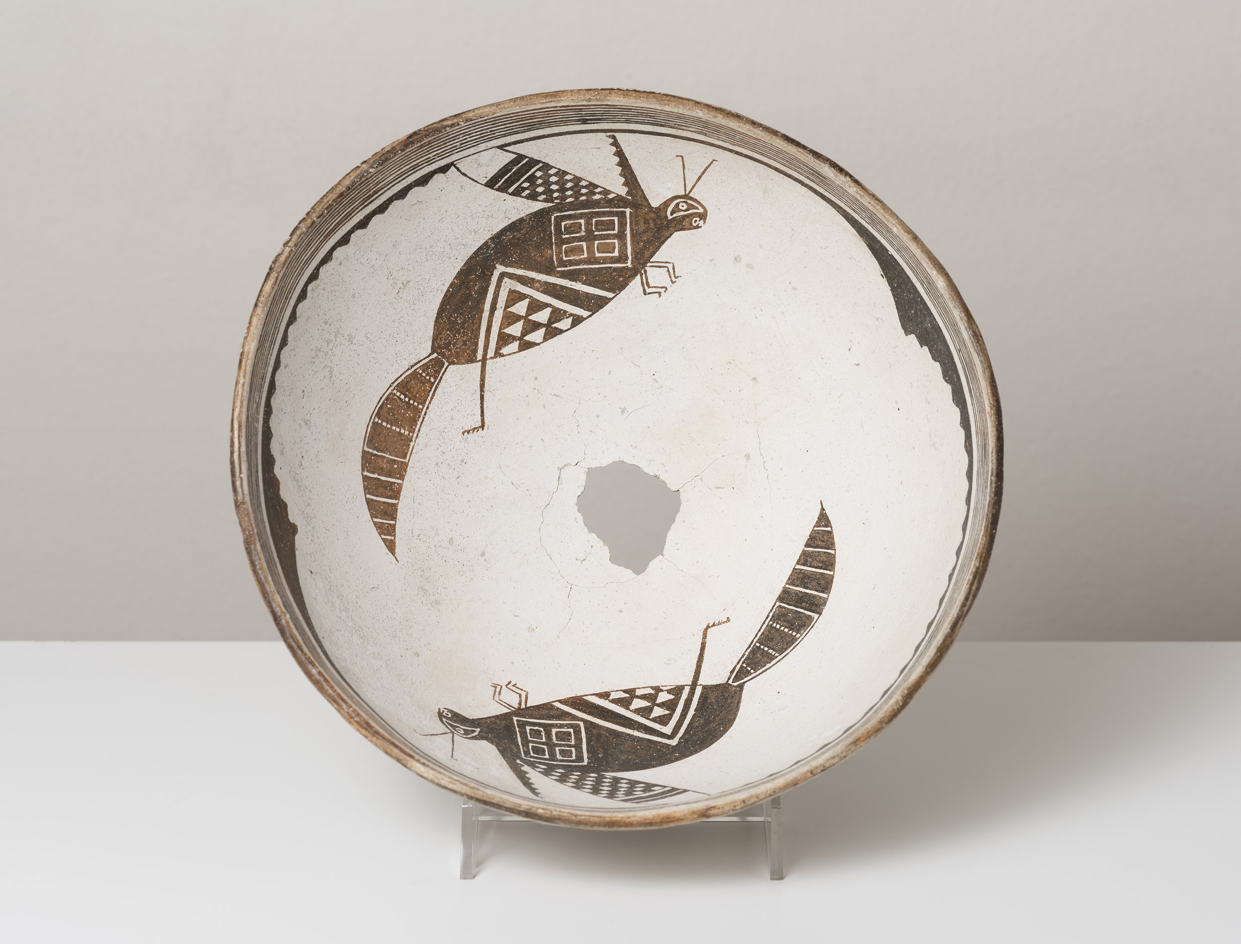 Classic Mimbres Black-on-white  Insects in rotational symmetry    c. 900 - 1000 CE Painted ceramic 9.5 inches diameter, 5 inches depth