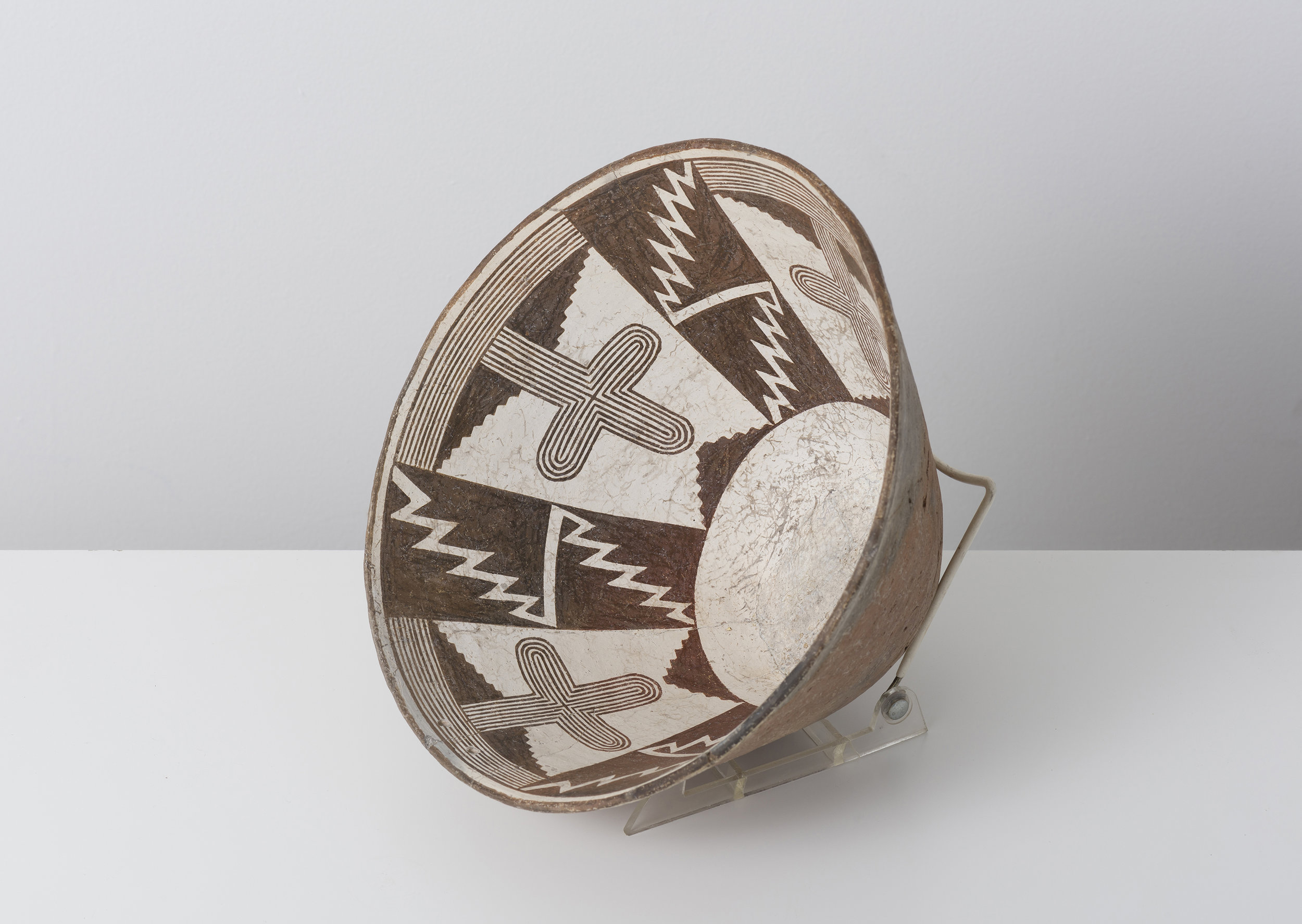 Classic Mimbres Black-on-white  Saguaro cactus and entoptic cross pattern c. 900 - 1000 CE Painted ceramic 11 inches diameter, 6 inches depth