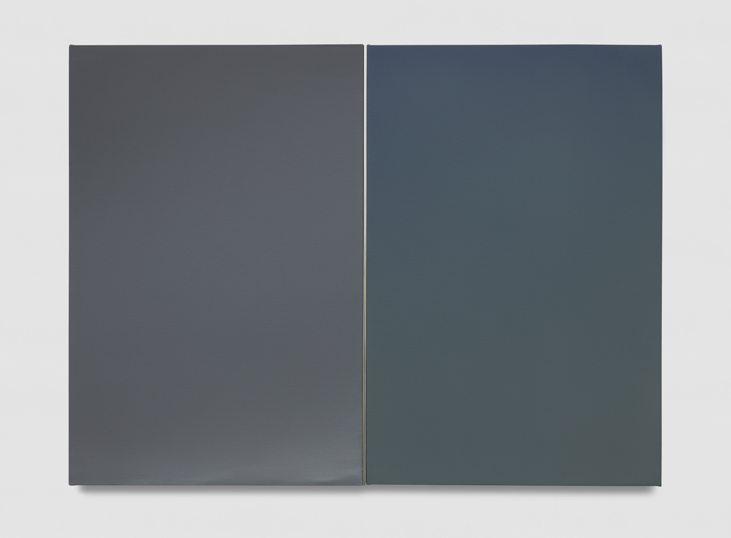 Mara De Luca   LIGHTBRIDGE: Dusk Diptych  2019 Acrylic on canvas with polished aluminum element 36 x 48 inches  Photo by Jeff McLane