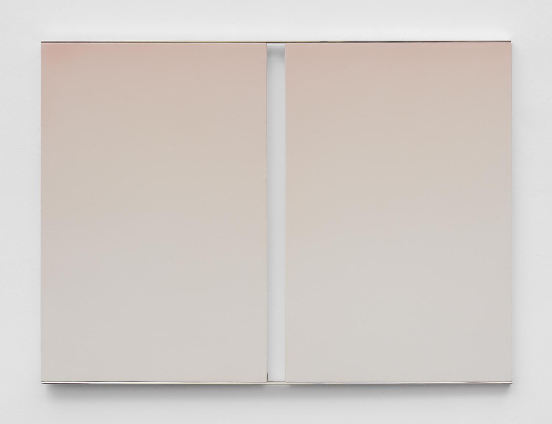 Mara De Luca  LIGHTBRIDGE: Haze     2019 Acrylic on canvas with polished aluminum elements 36 x 50 inches  Photo by Jeff McLane