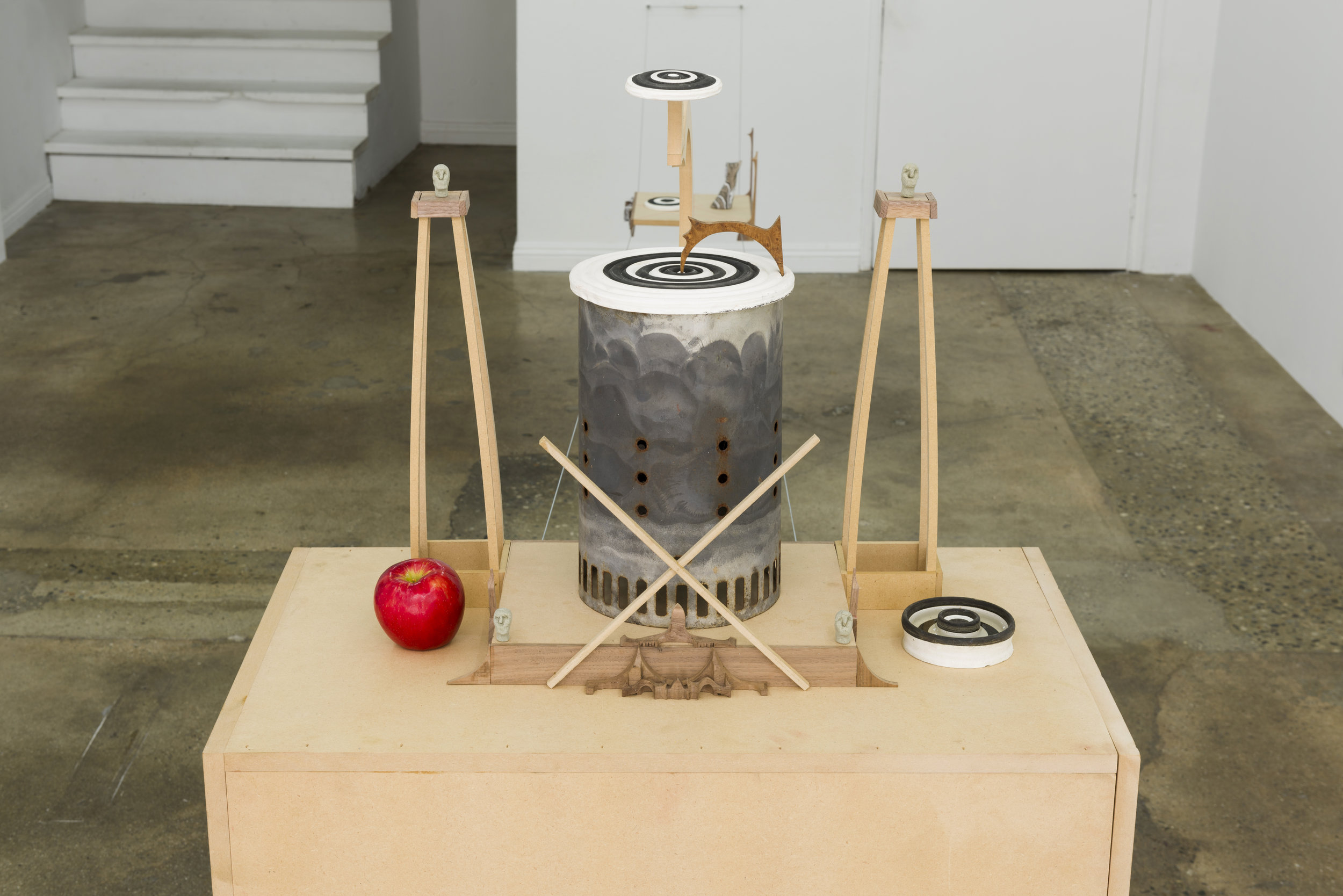 Harry Gould Harvey IV  Altar to the Hedonist of Eden   2019 MDF, walnut, burl, clay, metal, apple, bong water 21 x 23 x 11.5 in