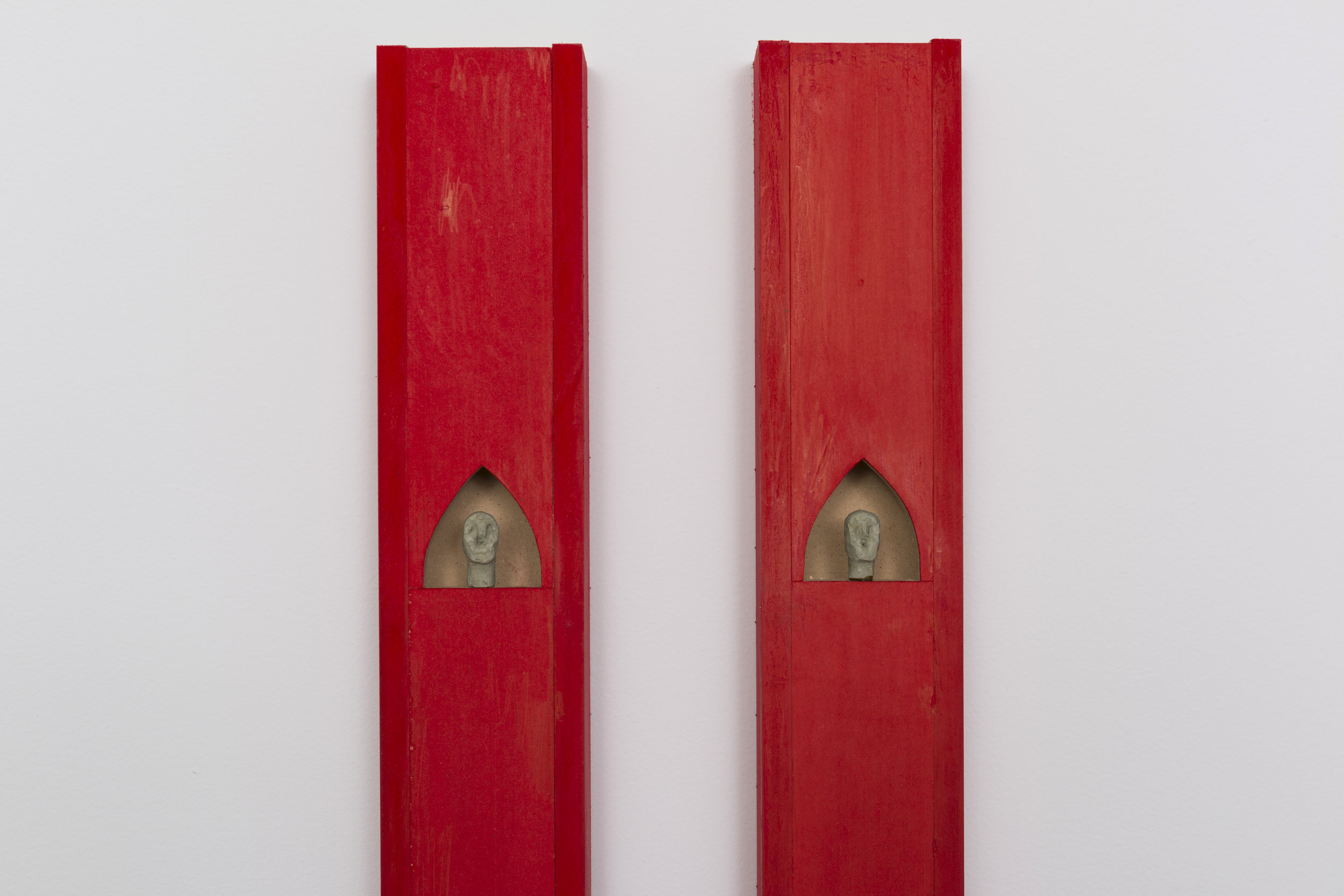 Harry Gould Harvey IV  Cardinal Cloudbuster I & II   (detail)     2019 Colored pencil on MDF, air-dried clay 77 x 3.5 x 2.5 in