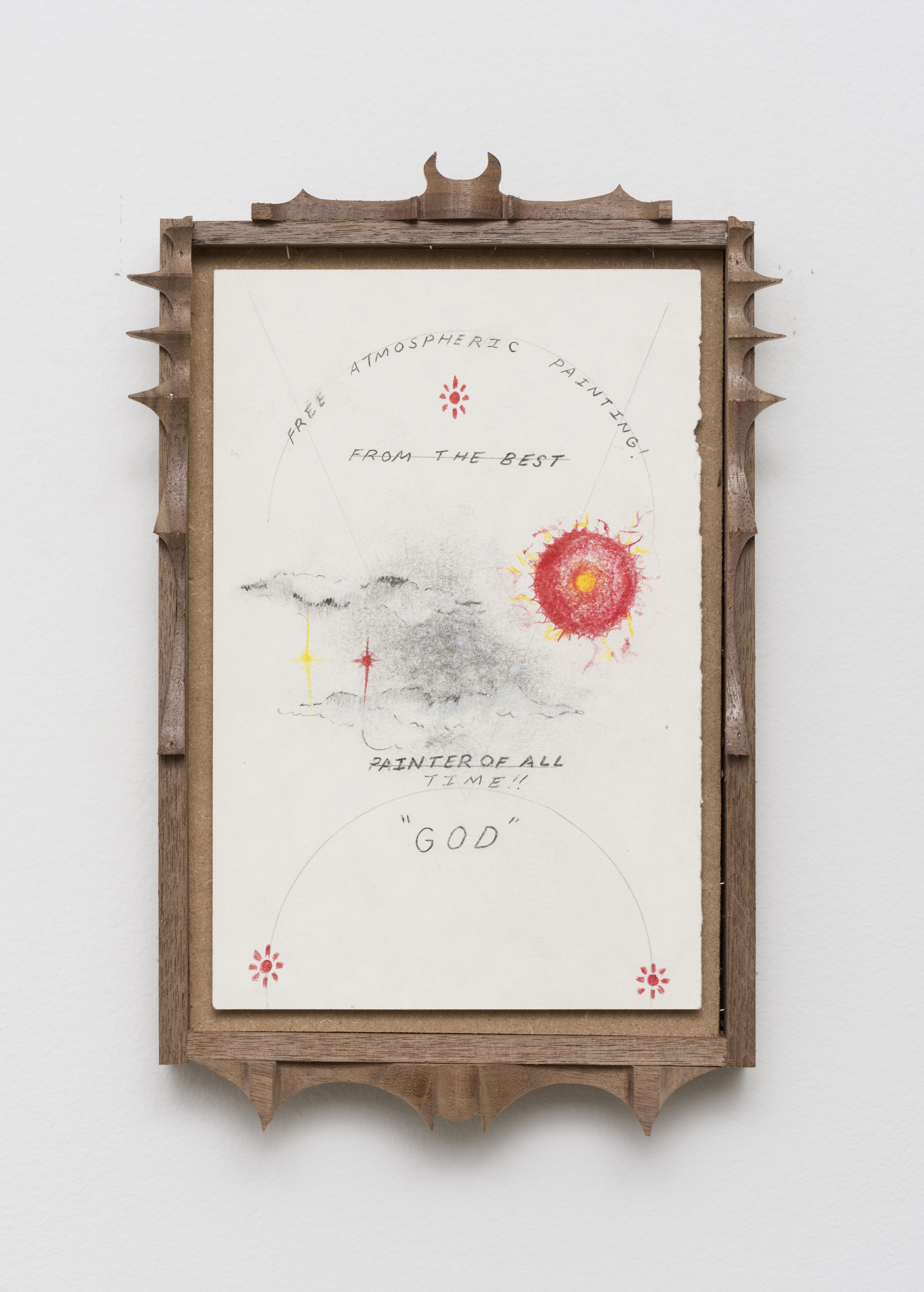 Harry Gould Harvey IV  Look Up! Free Atmospheric Painting   2019 Pencil on paper, carved walnut frame 11 x 6.75 in