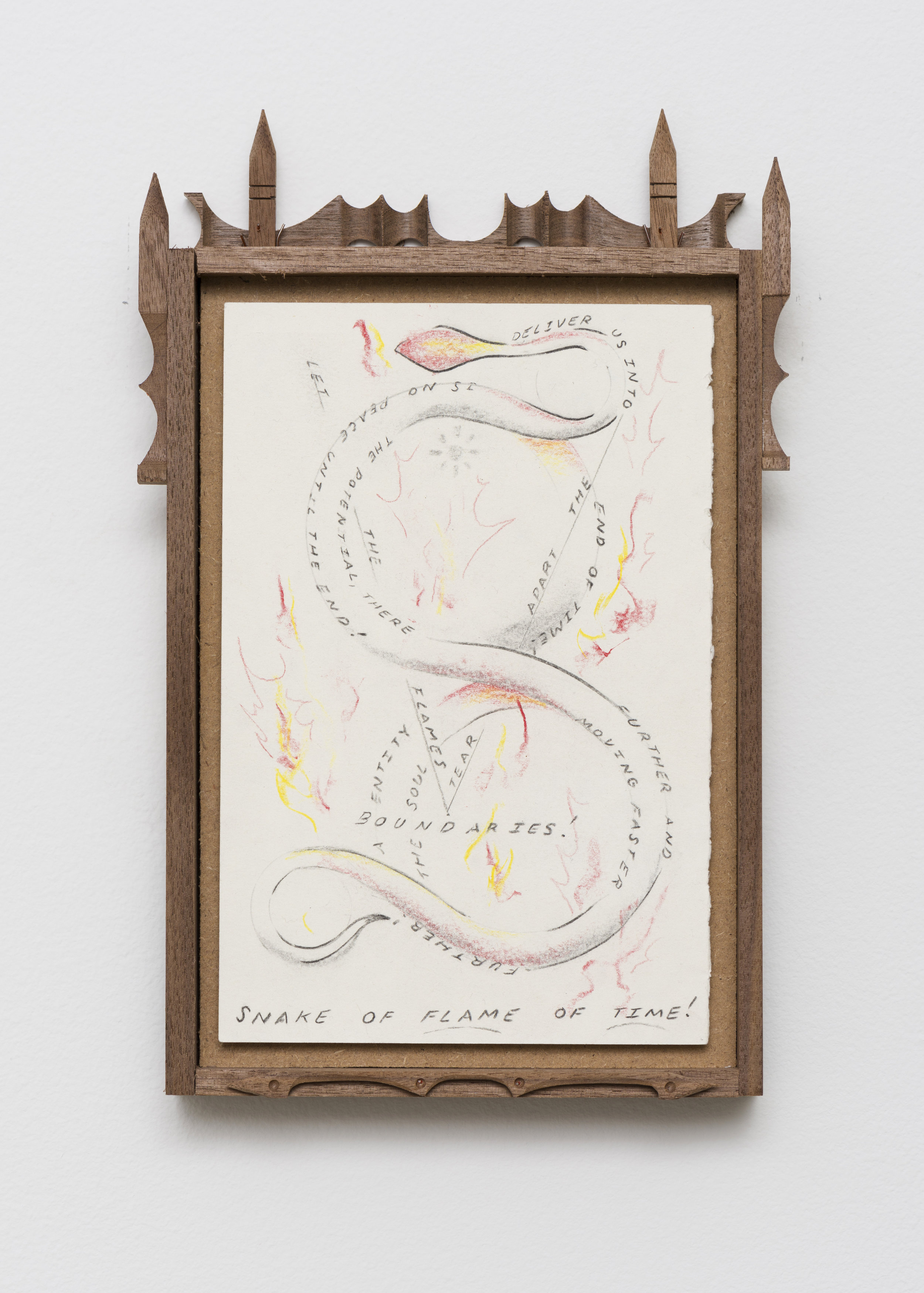 Harry Gould Harvey IV  Lost in a Combustible Ether in the Flames of TIme   2019 Pencil on paper, carved walnut frame 11 x 6.75 in