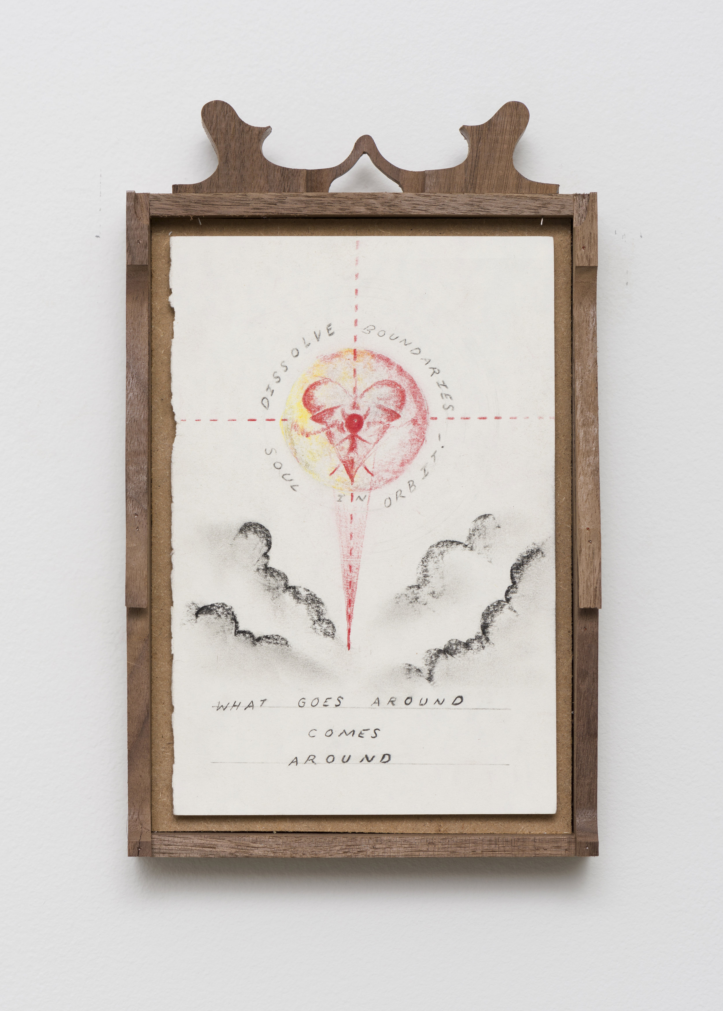 Harry Gould Harvey IV  Soul in Orbit   2019 Pencil on paper, carved walnut frame 11 x 6.75 in