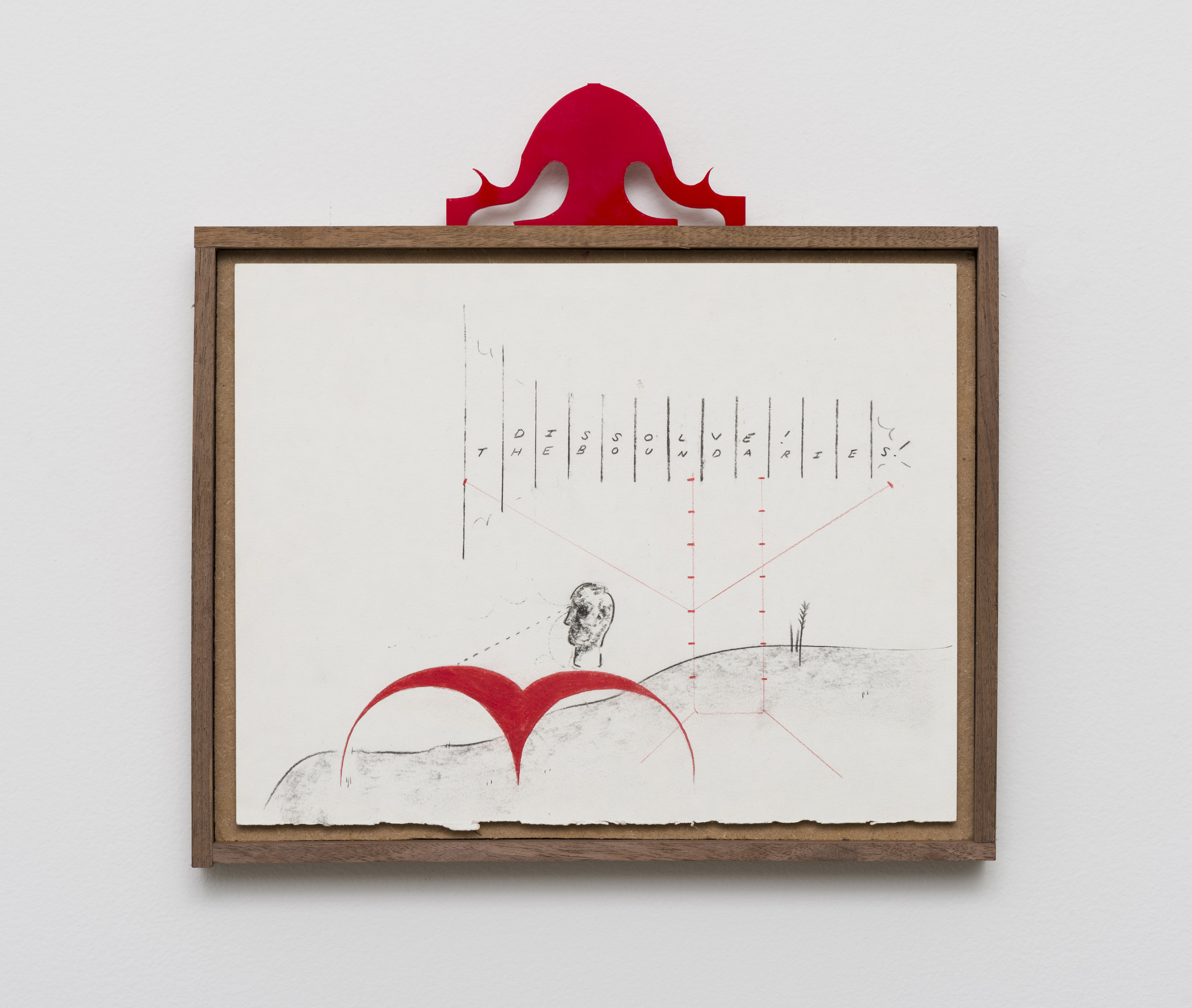 Harry Gould Harvey IV  Boundary Sculpture Garden   2019 Pencil on paper, plastic, walnut frame 12 x 12.25 in