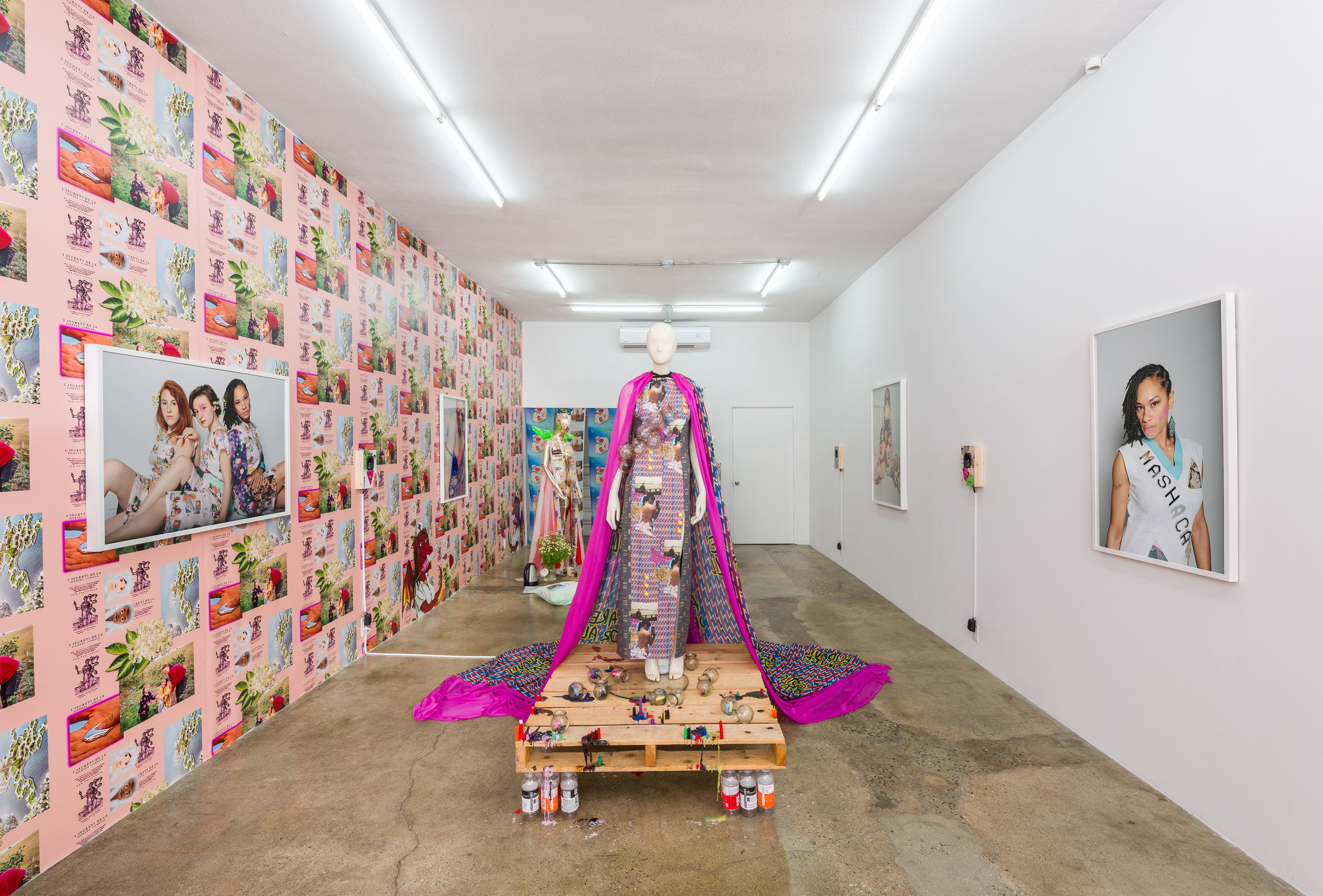 Installation view of  Molly Surazhsky   Mashacare Home of the Freaks, Misfits, & Weirdoes   July 14 - August 18, 2019  Photo by Ruben Diaz   Link to press release.
