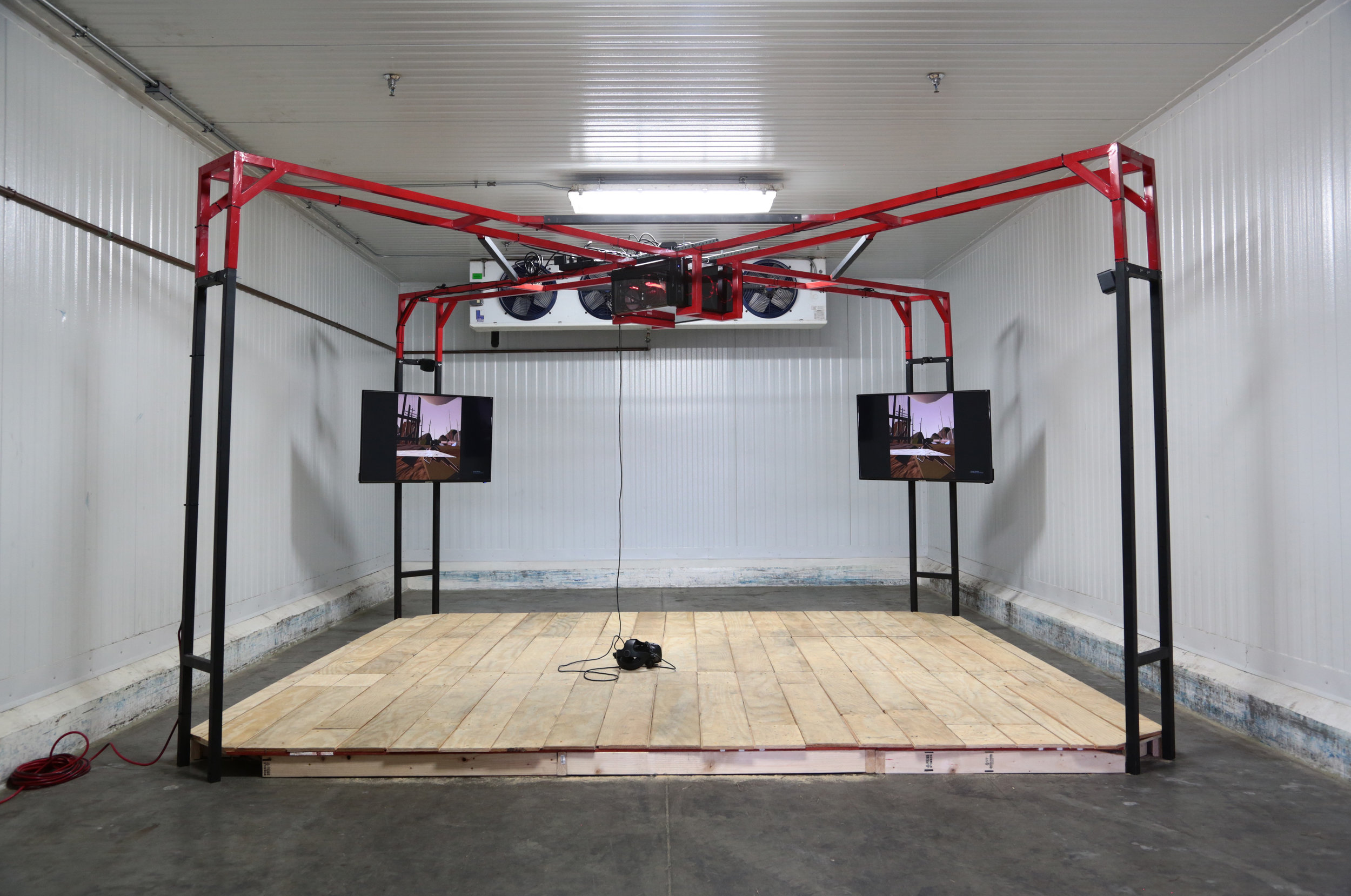 Installation view of Filip Kostic  Landgrab the Musical in Virtual Reality   SPRING/BREAK Art Show LA February 15-17, 2019   Link to press release