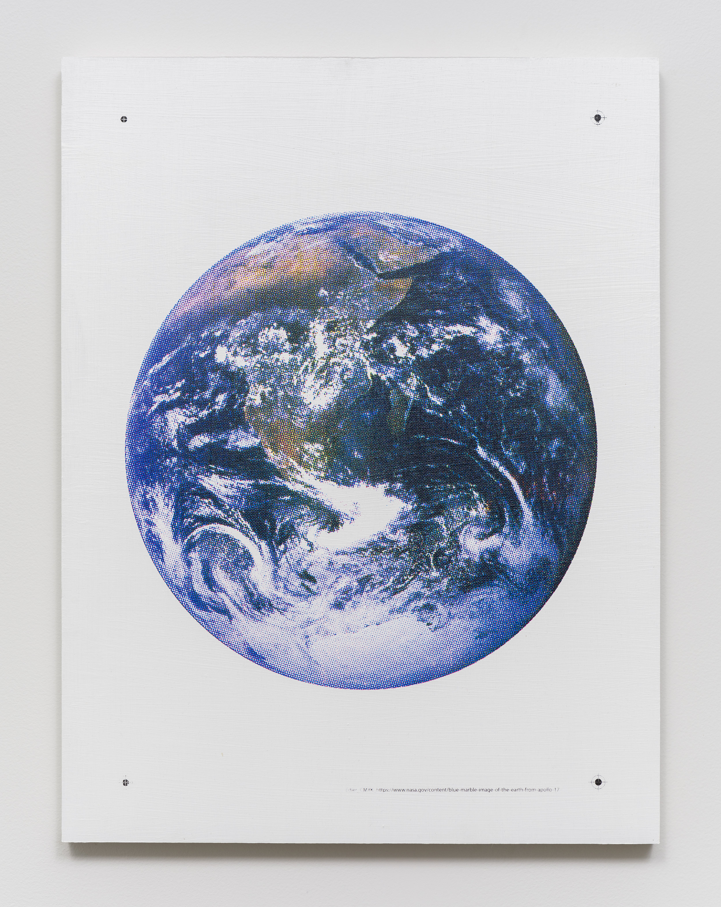 Don Edler  CMYK Blue Marble   2019 Gesso and silkscreen ink on panel 24 in x 18 in  Photo by Ruben Diaz