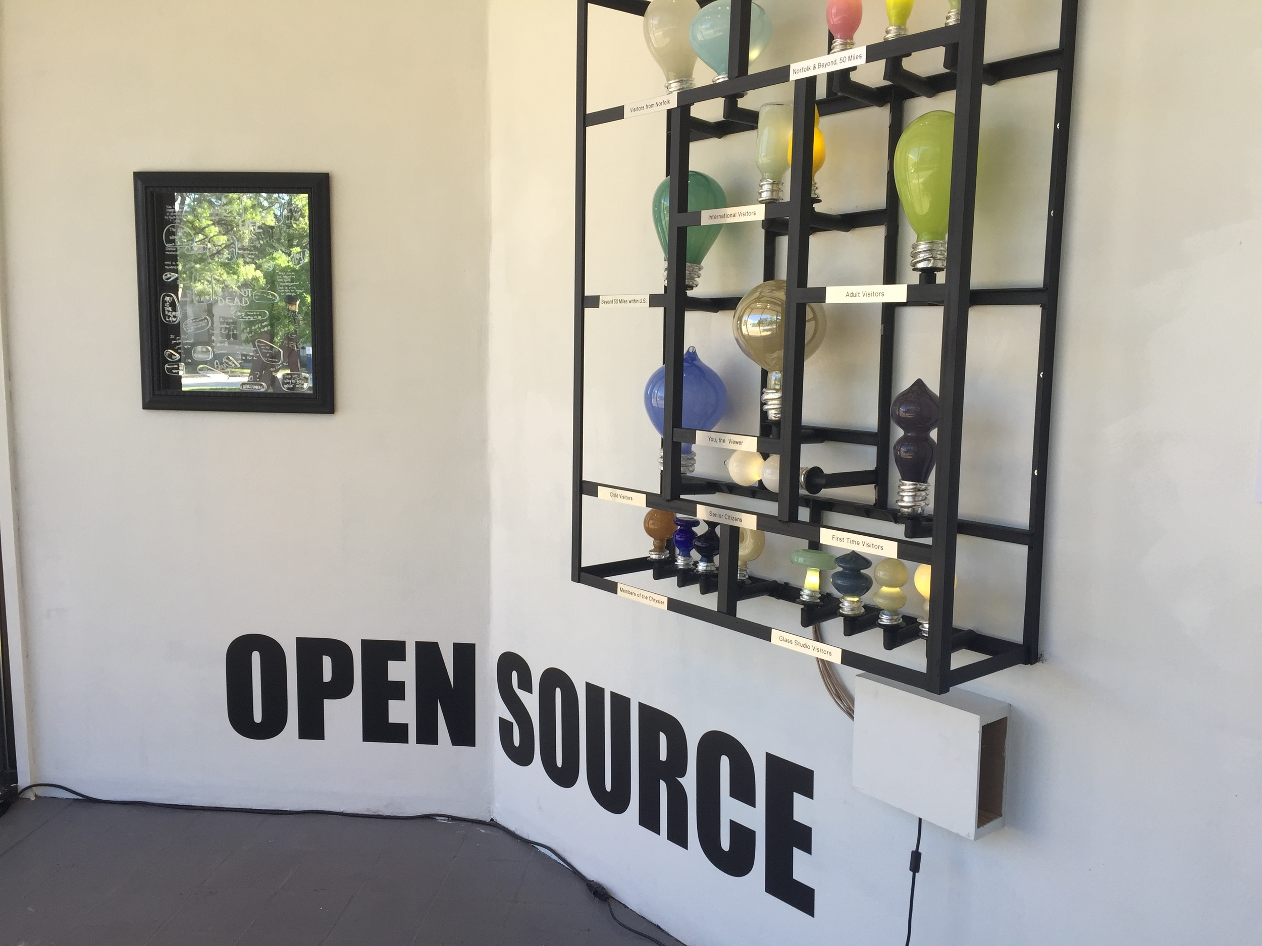 Open Source,   2016  Mouth blown glass, visitor responses  Installation view