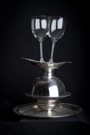 Domestic Bliss  III   , 2012   Store bought glass, silver platter   21'' x 10''   Photo Credit: Zack Krelle