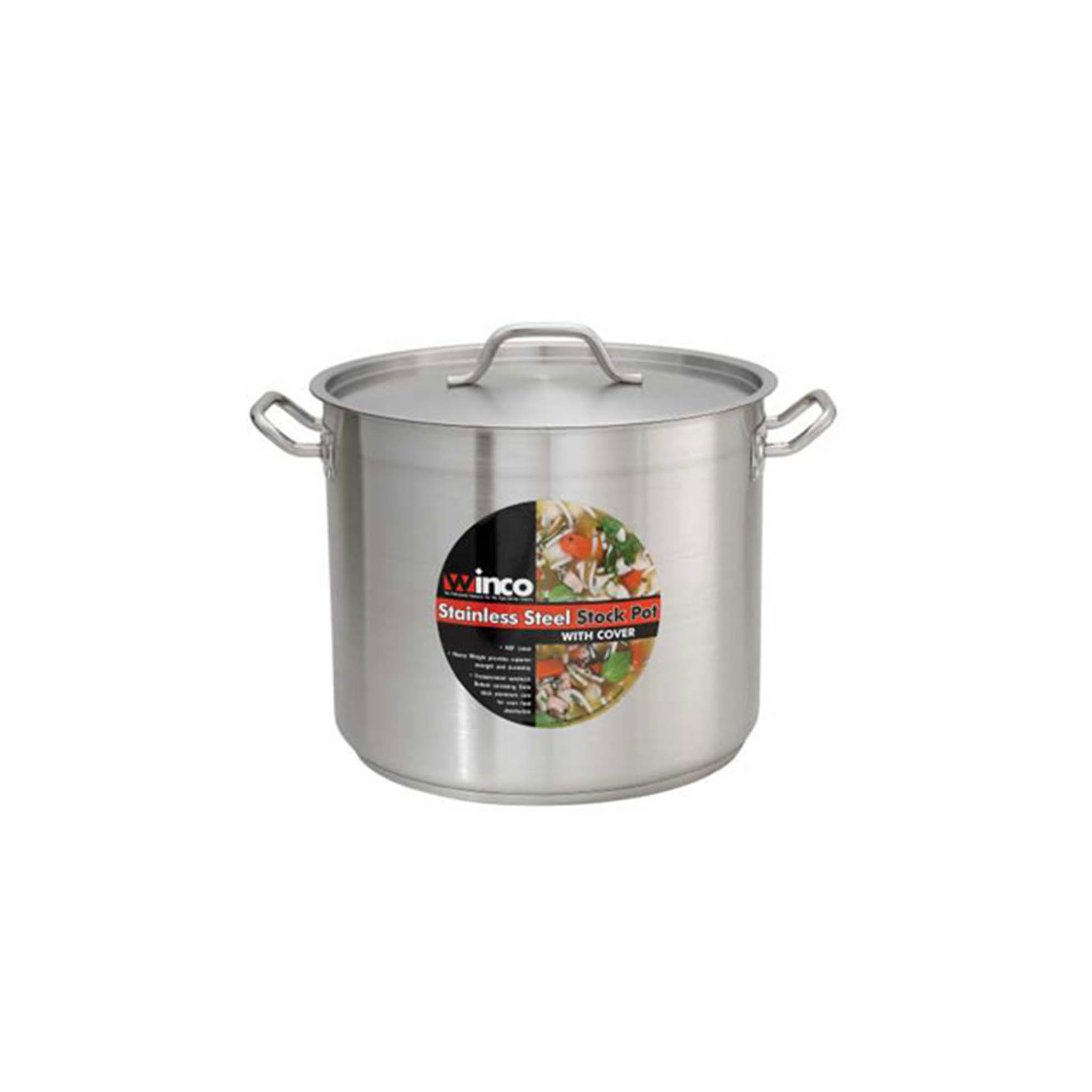 SST-12 Winco 12 Qt Induction Ready Stainless Steel Stock Pot w//Cover